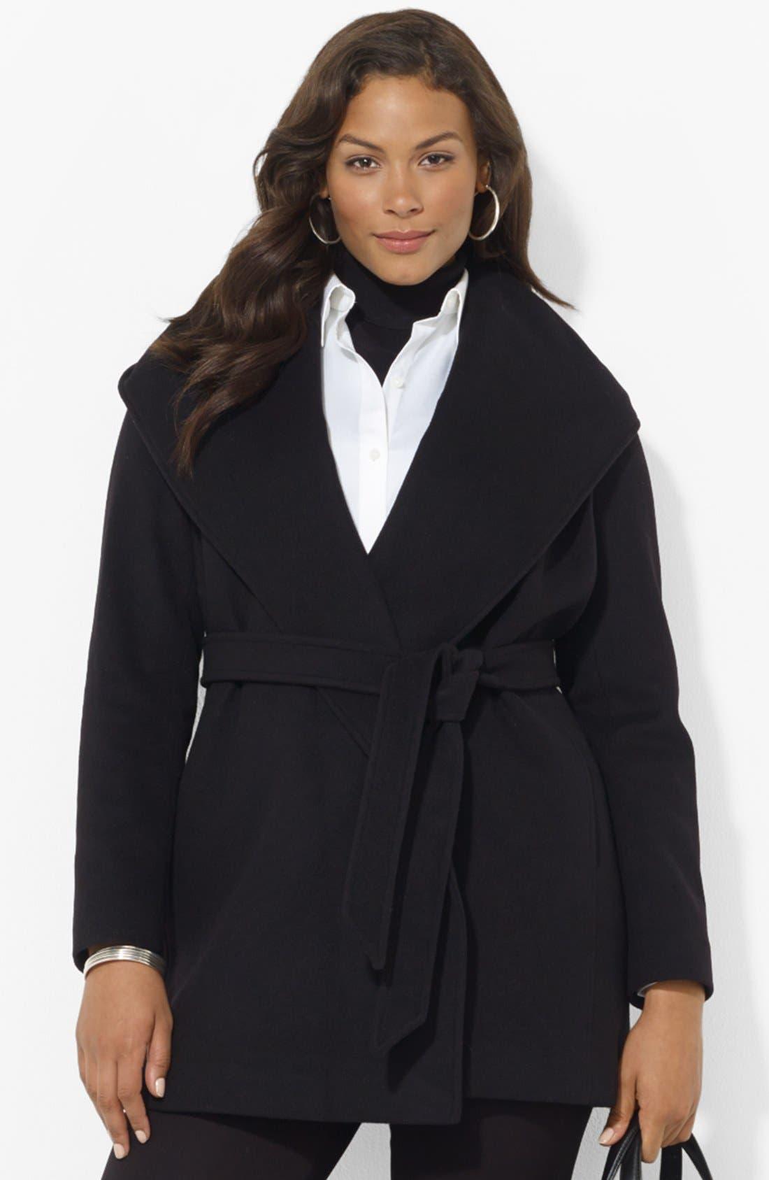Alternate Image 1 Selected - Lauren Ralph Lauren Hooded Wrap Coat (Plus Size)