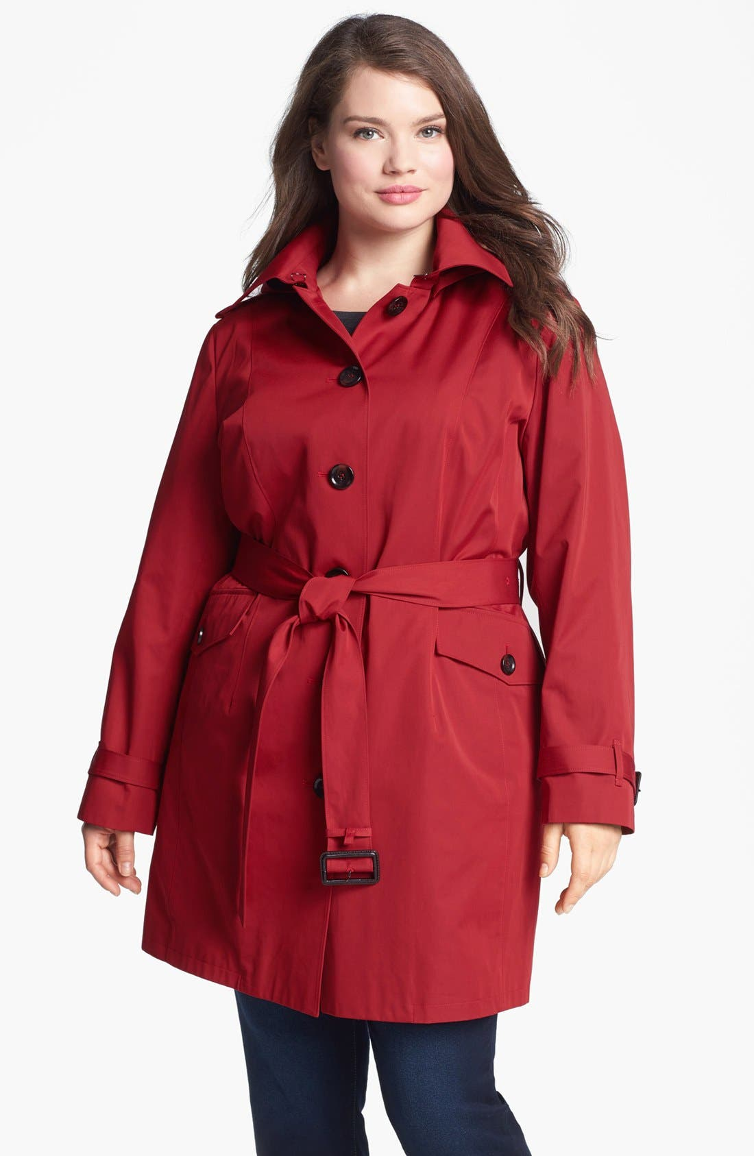 Alternate Image 1 Selected - MICHAEL Michael Kors Belted Trench with Detachable Liner (Plus Size)