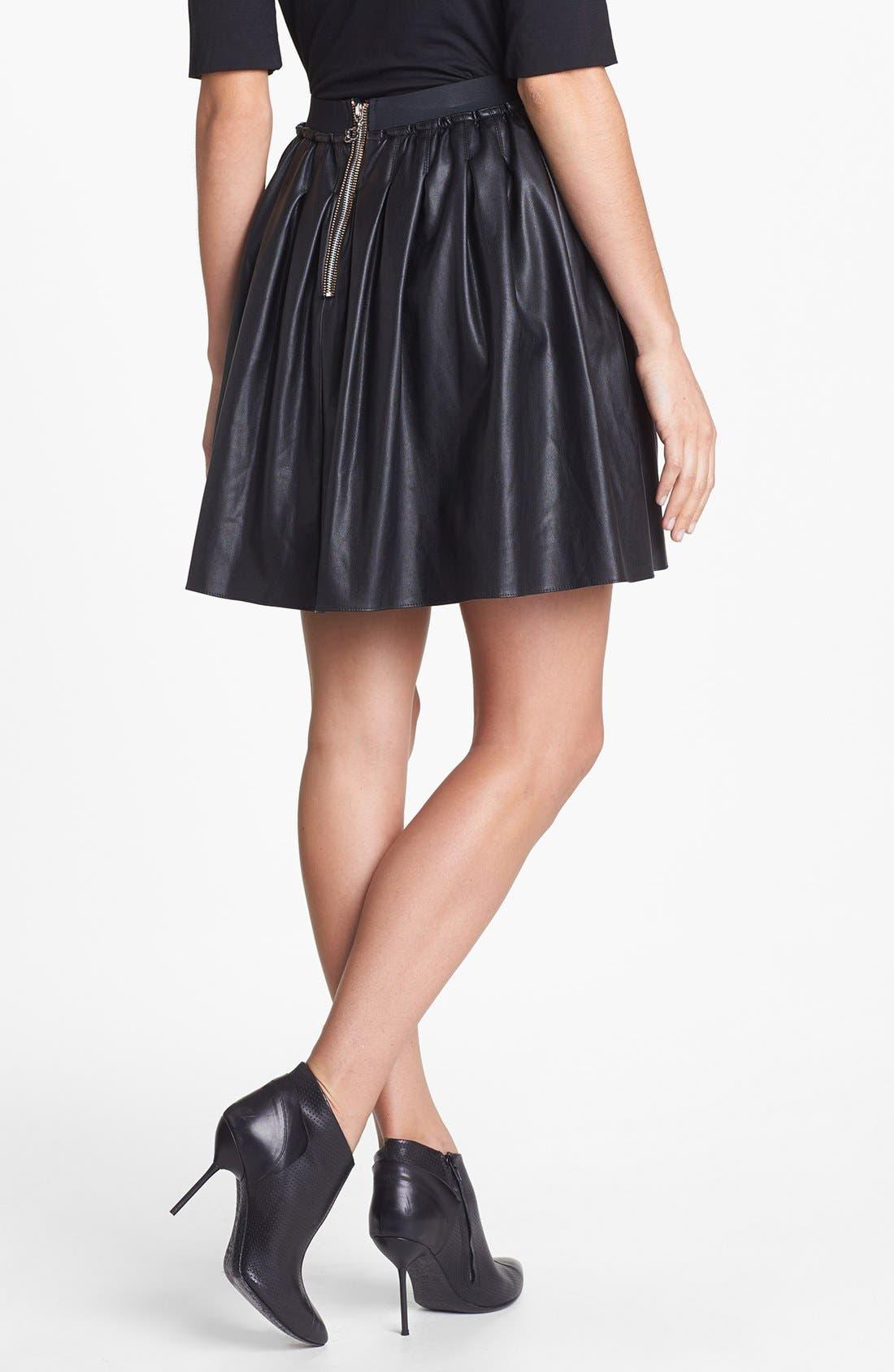 Alternate Image 2  - Pink Tartan 'Moss' Faux Leather Skirt