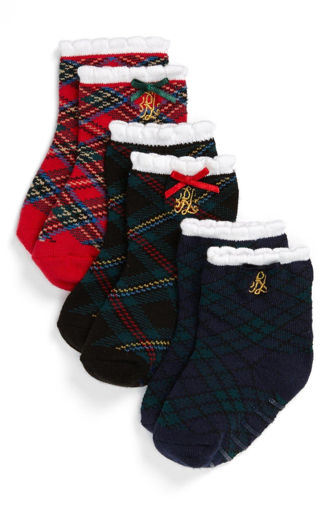 Alternate Image 1 Selected - Polo Ralph Lauren Socks (3-Pack) (Baby Girls)