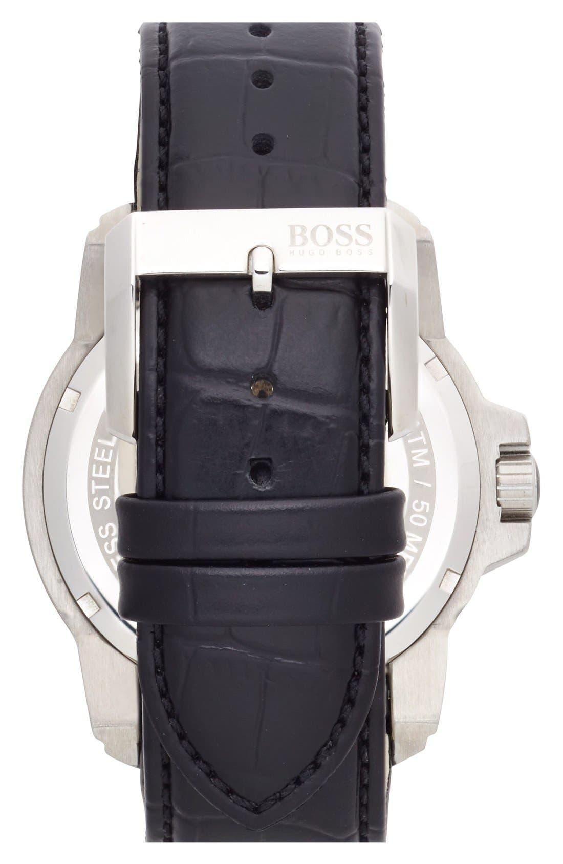 Alternate Image 2  - BOSS Round Leather Strap Watch, 46mm
