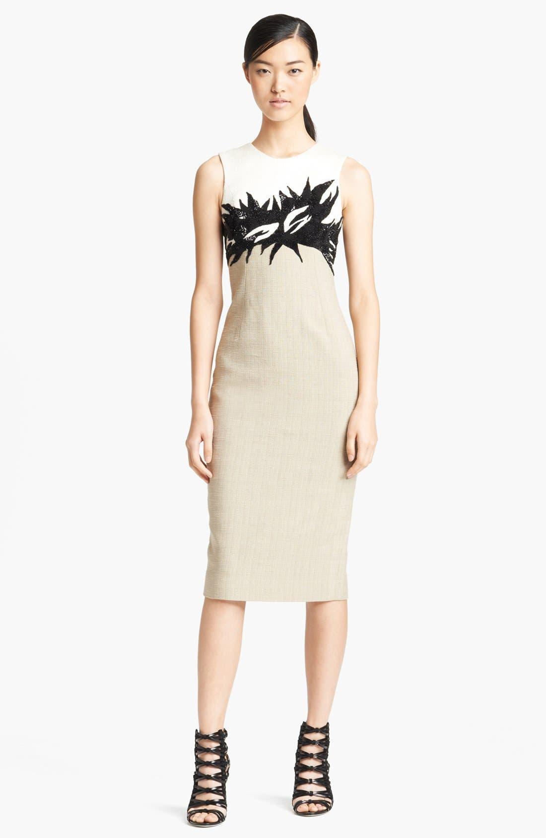 Main Image - Jason Wu Botanical Appliqué Tweed Sheath Dress