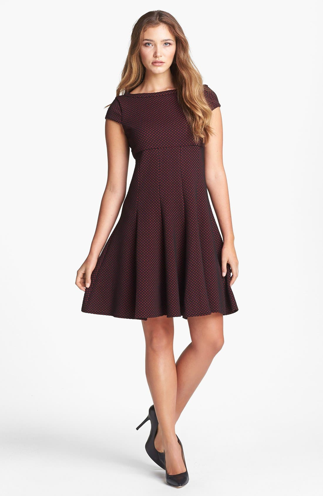 Alternate Image 1 Selected - Taylor Dresses Dot Pattern Fit & Flare Dress