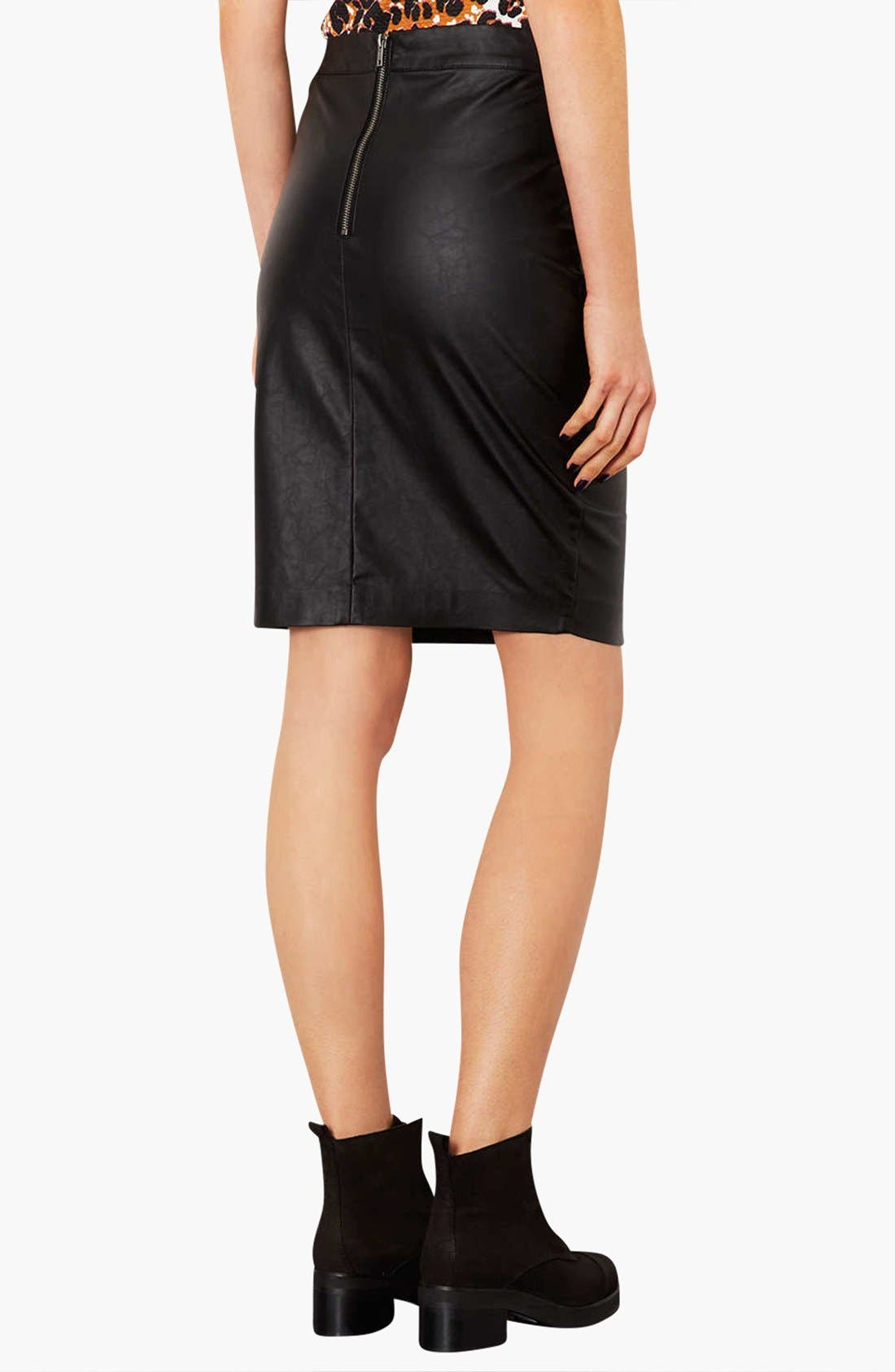 Alternate Image 2  - Topshop Faux Leather Pencil Skirt