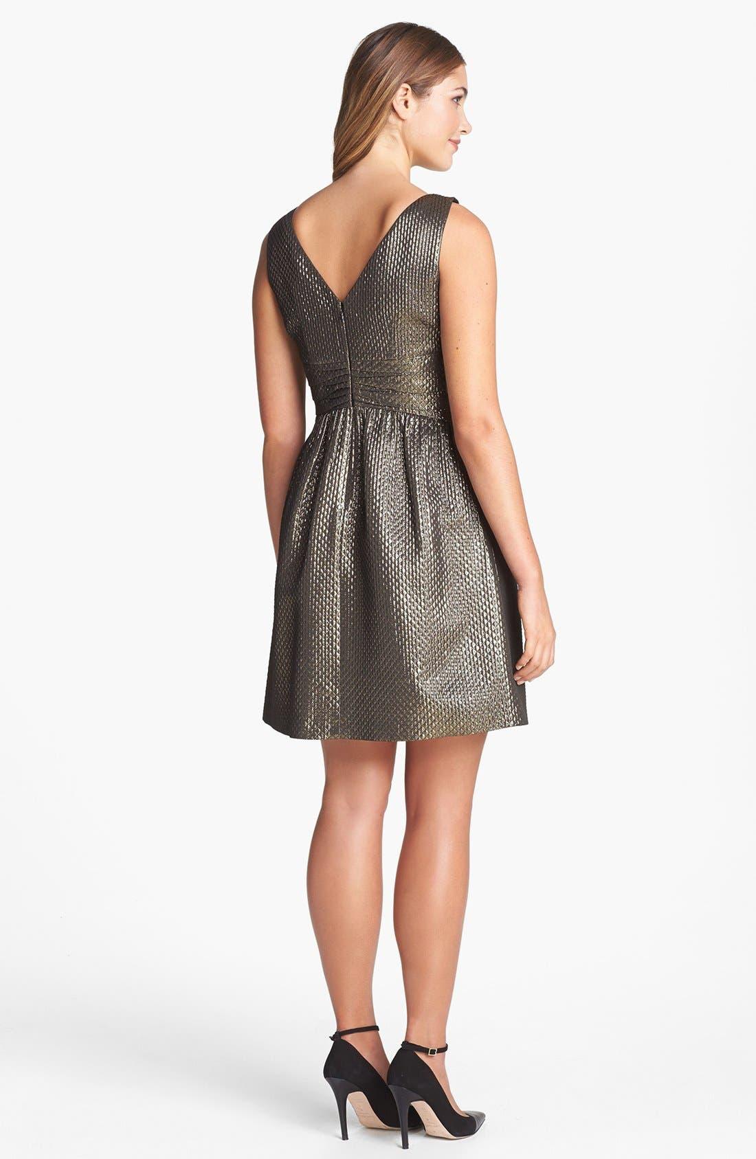 Alternate Image 2  - Ivy & Blu Metallic Jacquard Fit & Flare Dress