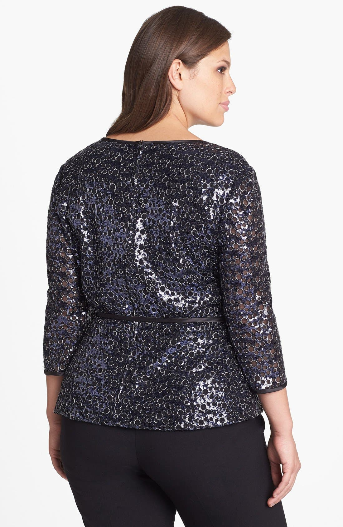 Alternate Image 2  - Alex Evenings Sequin Blouse with Satin Tie (Plus Size)