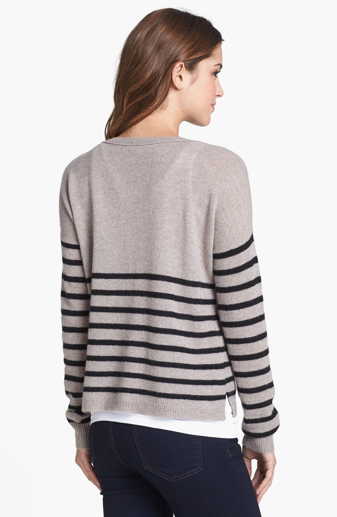 Alternate Image 2  - Halogen® Stripe Crop Cashmere Sweater