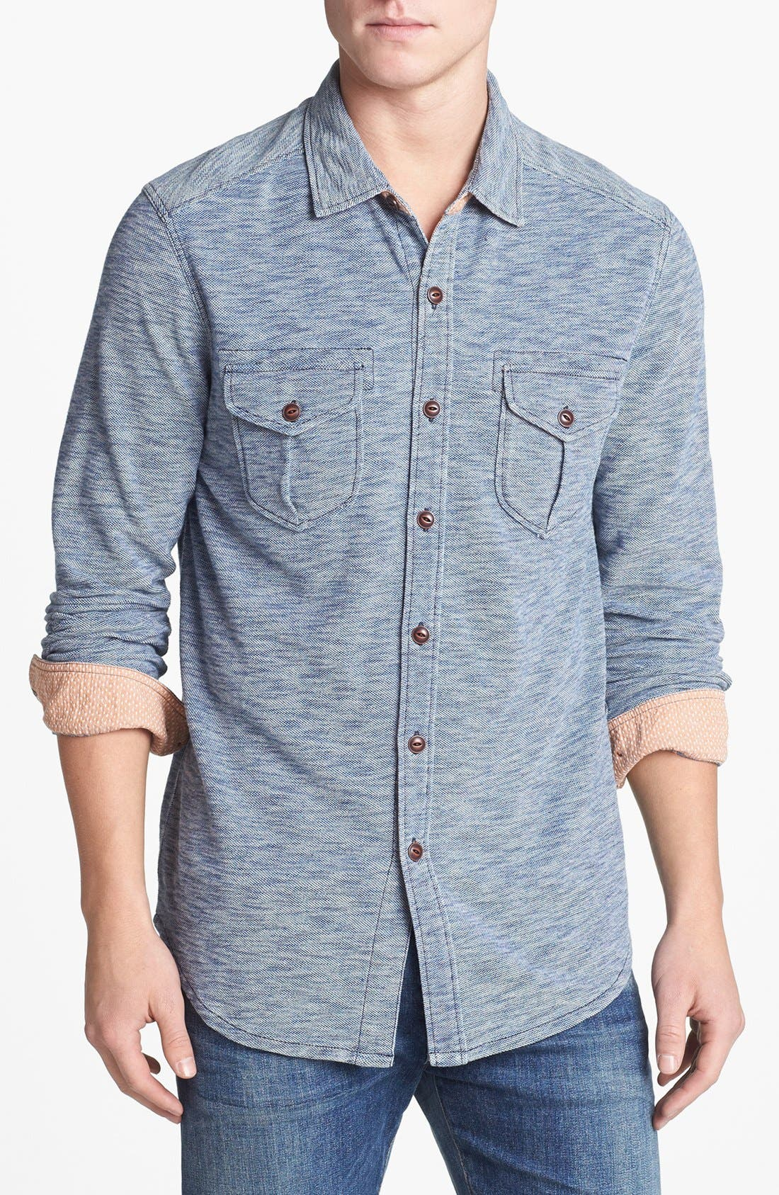 Alternate Image 1 Selected - Tommy Bahama Denim 'Slub Life' Pique Island Modern Fit Sport Shirt