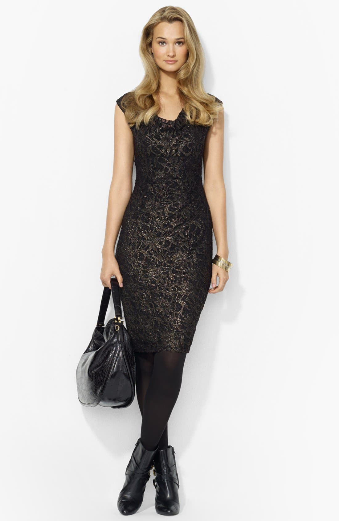 Main Image - Lauren Ralph Lauren Metallic Lace Sheath Dress