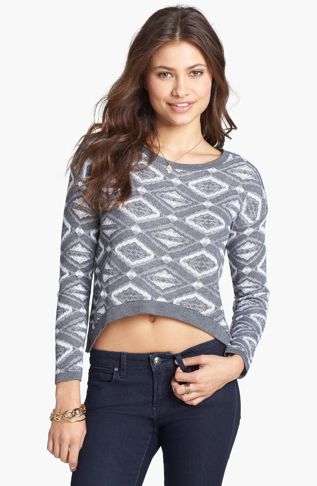 Alternate Image 1 Selected - Cotton Emporium Geometric Sweater (Juniors)