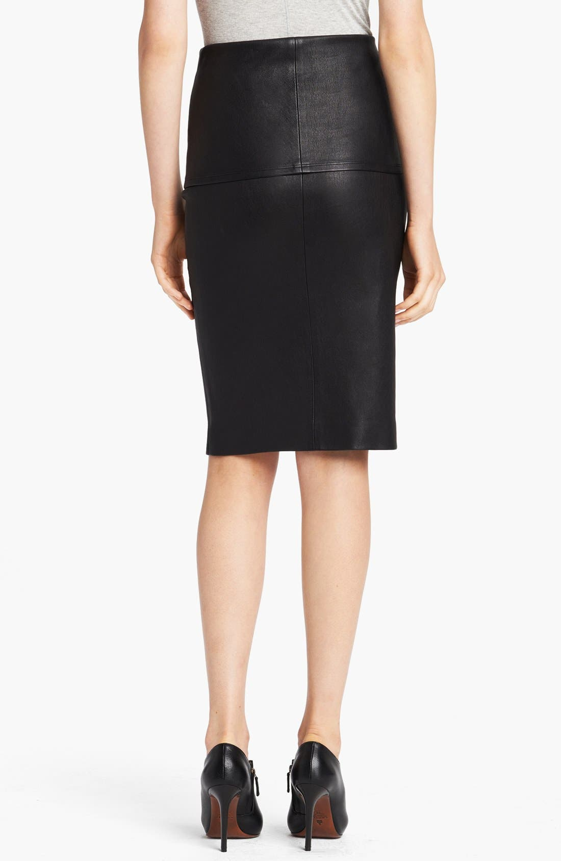 Alternate Image 2  - Donna Karan Collection Stretch Leather Tube Skirt