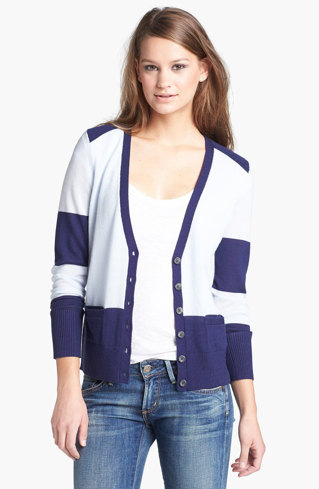 Alternate Image 1 Selected - Halogen® V-Neck Merino Wool Cardigan
