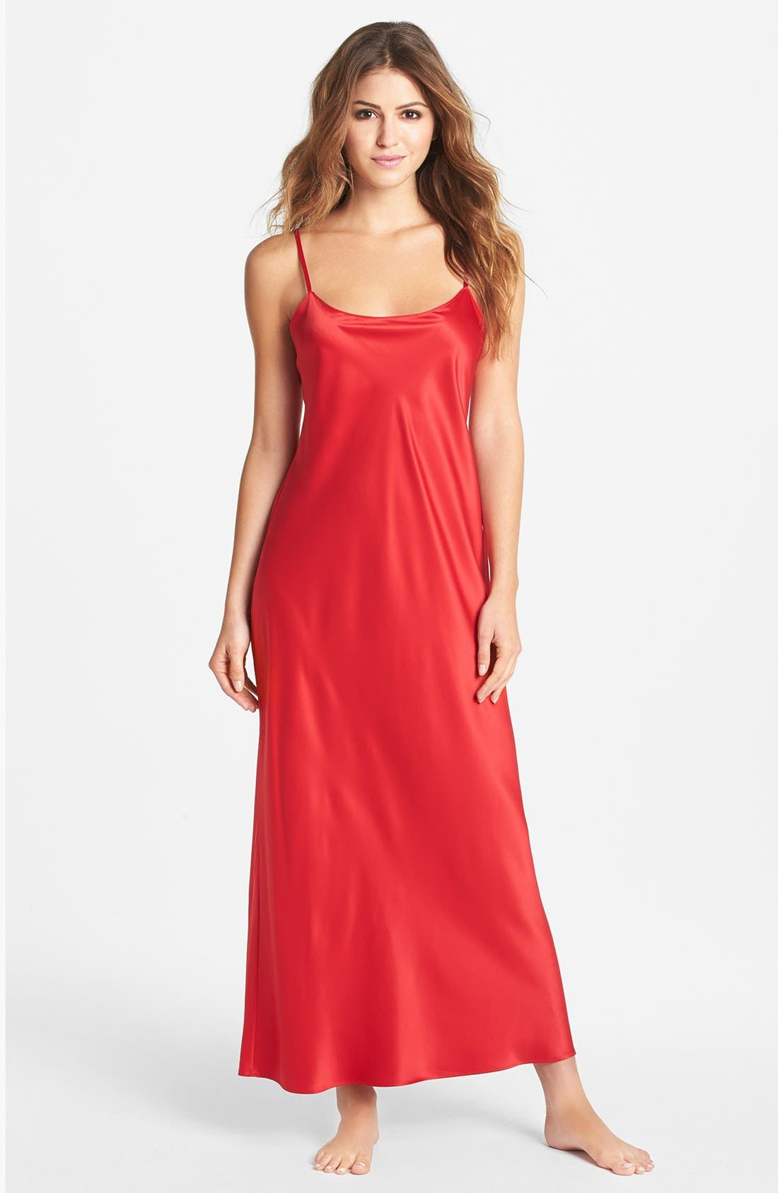 Alternate Image 1 Selected - Natori Long Charmeuse Nightgown