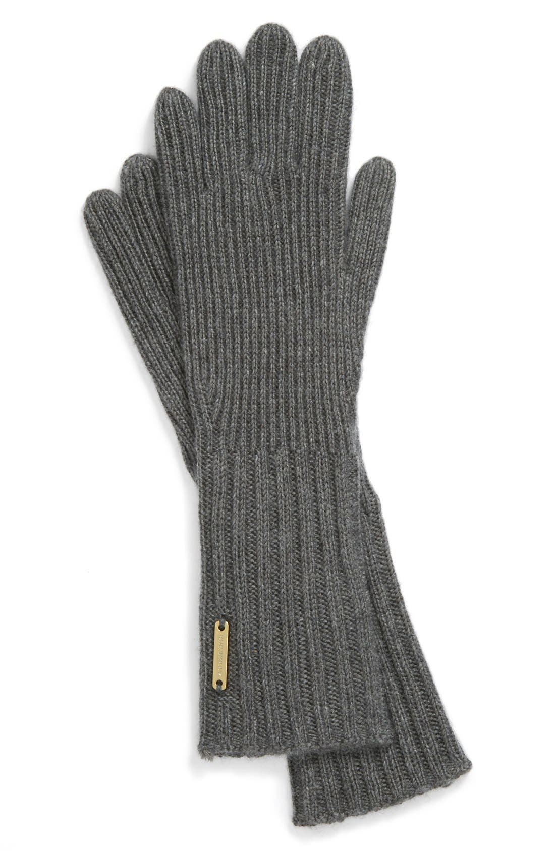 Main Image - Burberry Cashmere Blend Touch Tech Knit Gloves