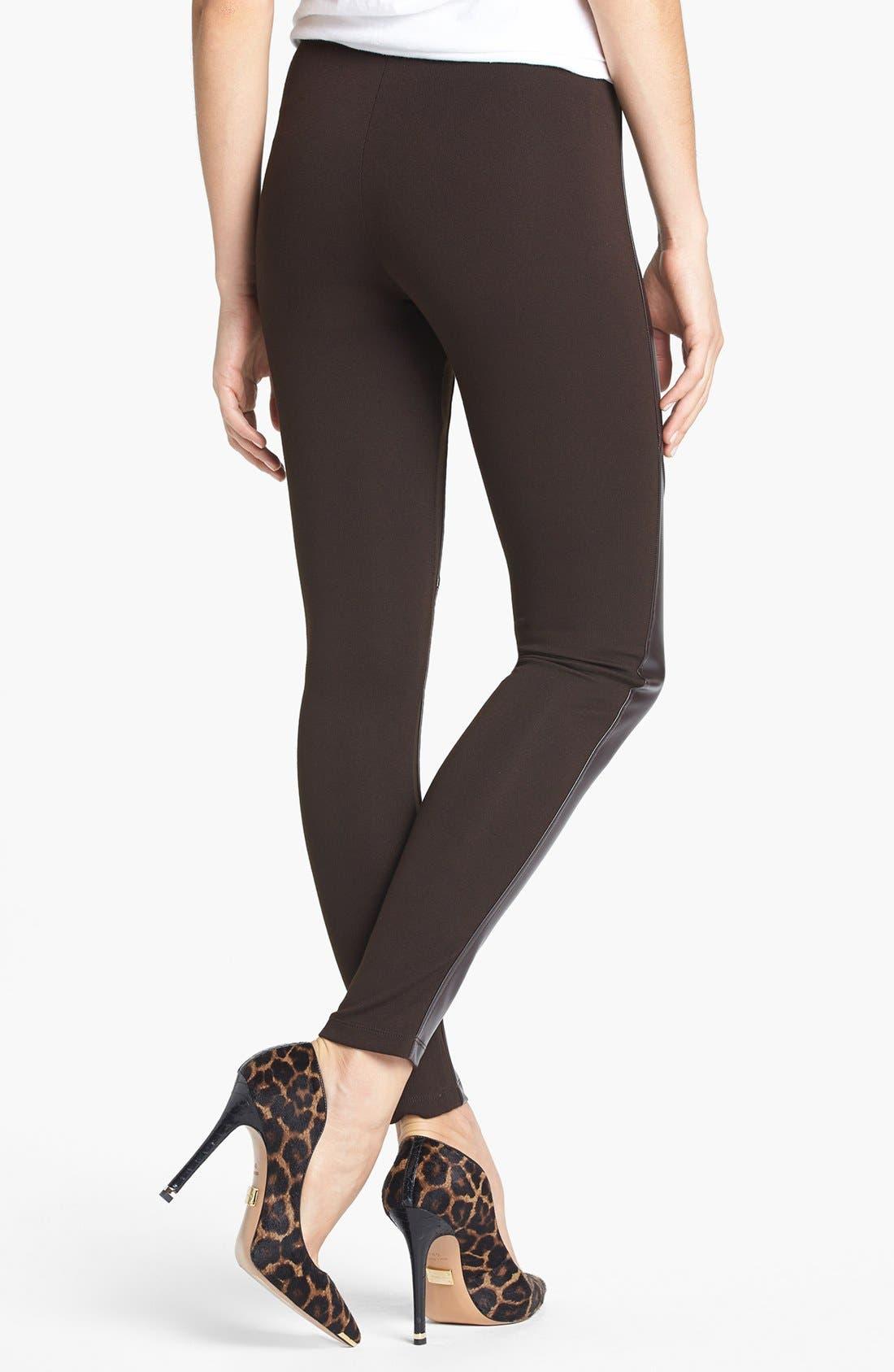 Alternate Image 2  - MICHAEL Michael Kors Faux Leather Front Leggings