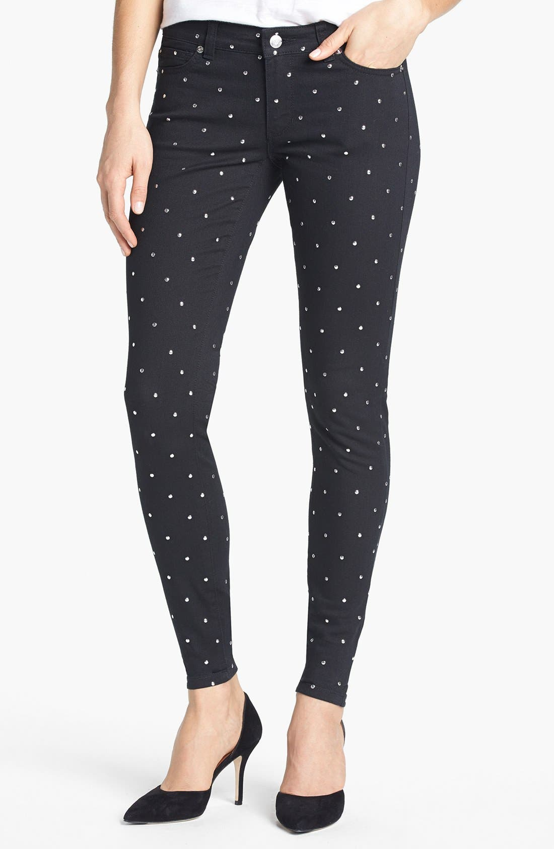 Alternate Image 1 Selected - MICHAEL Michael Kors Studded Skinny Jeans