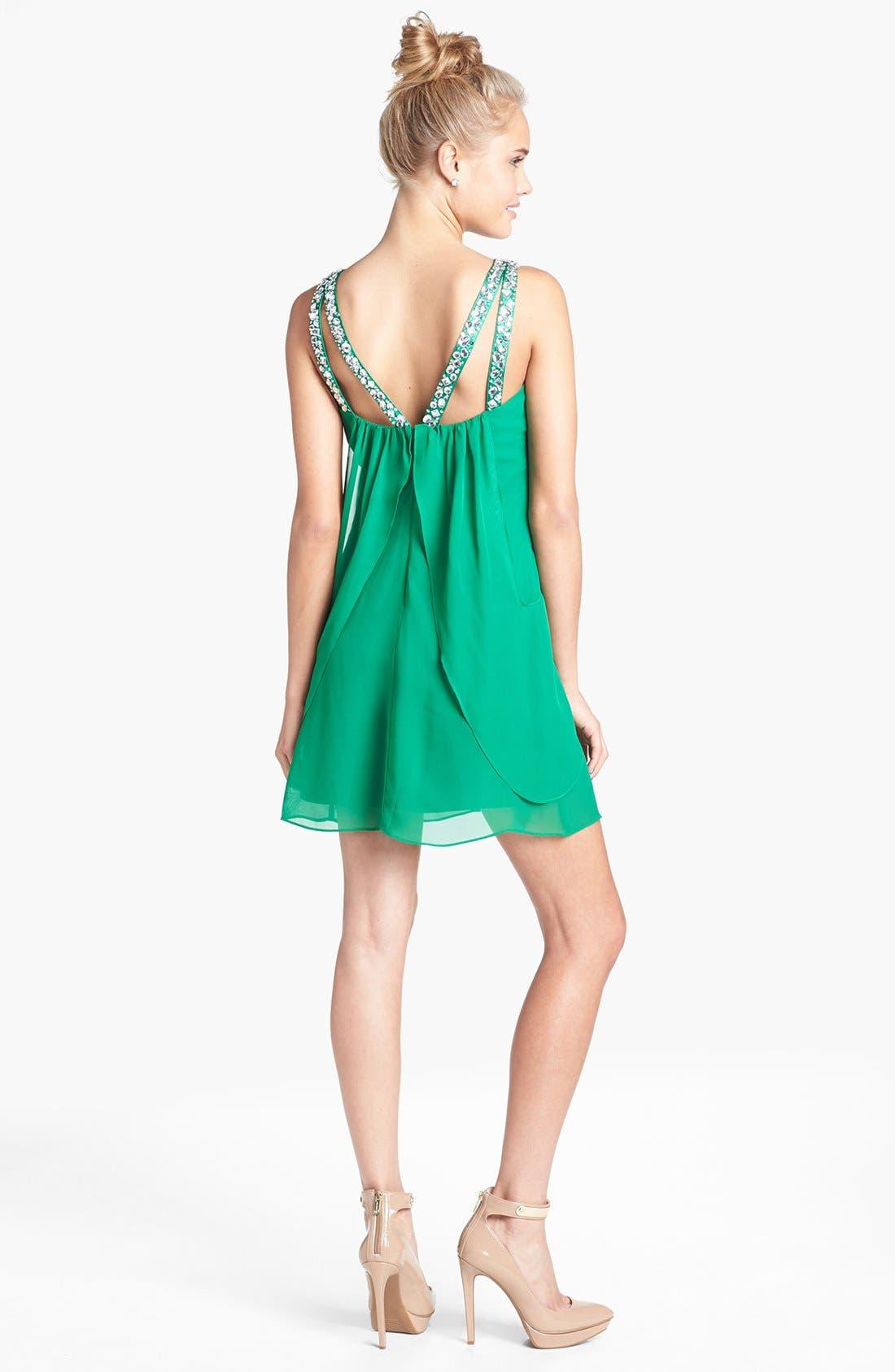 Alternate Image 2  - Hailey Logan Jeweled V-Neck Dress (Juniors) (Online Only)