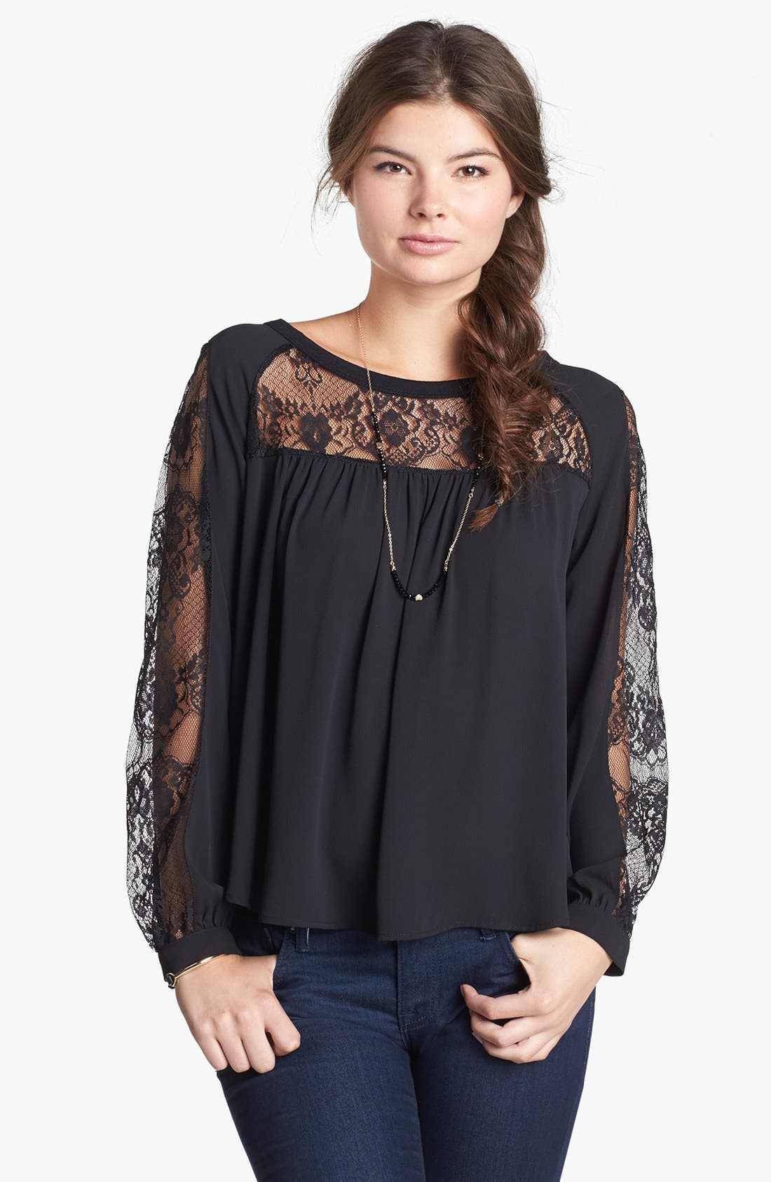 Alternate Image 1 Selected - Elodie Lace Inset Peasant Top (Juniors) (Online Only)
