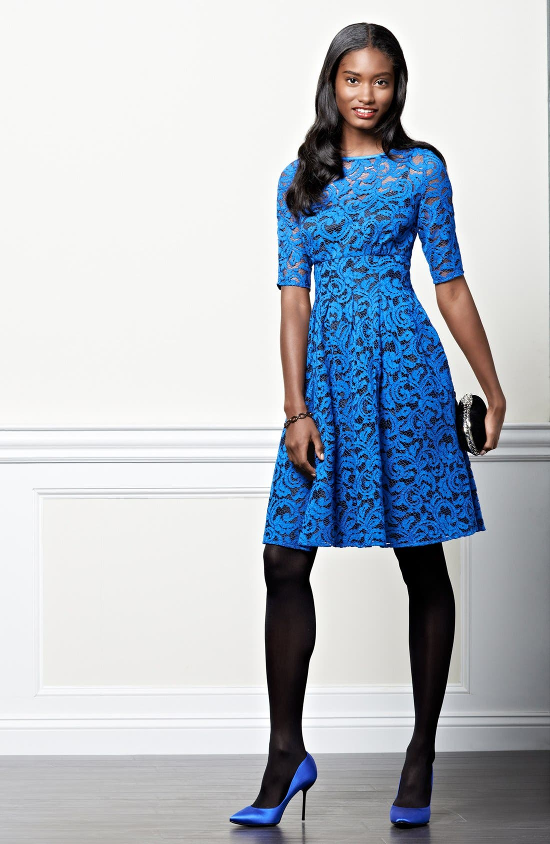 Alternate Image 4  - Adrianna Papell Lace Overlay Fit & Flare Dress (Regular & Petite)
