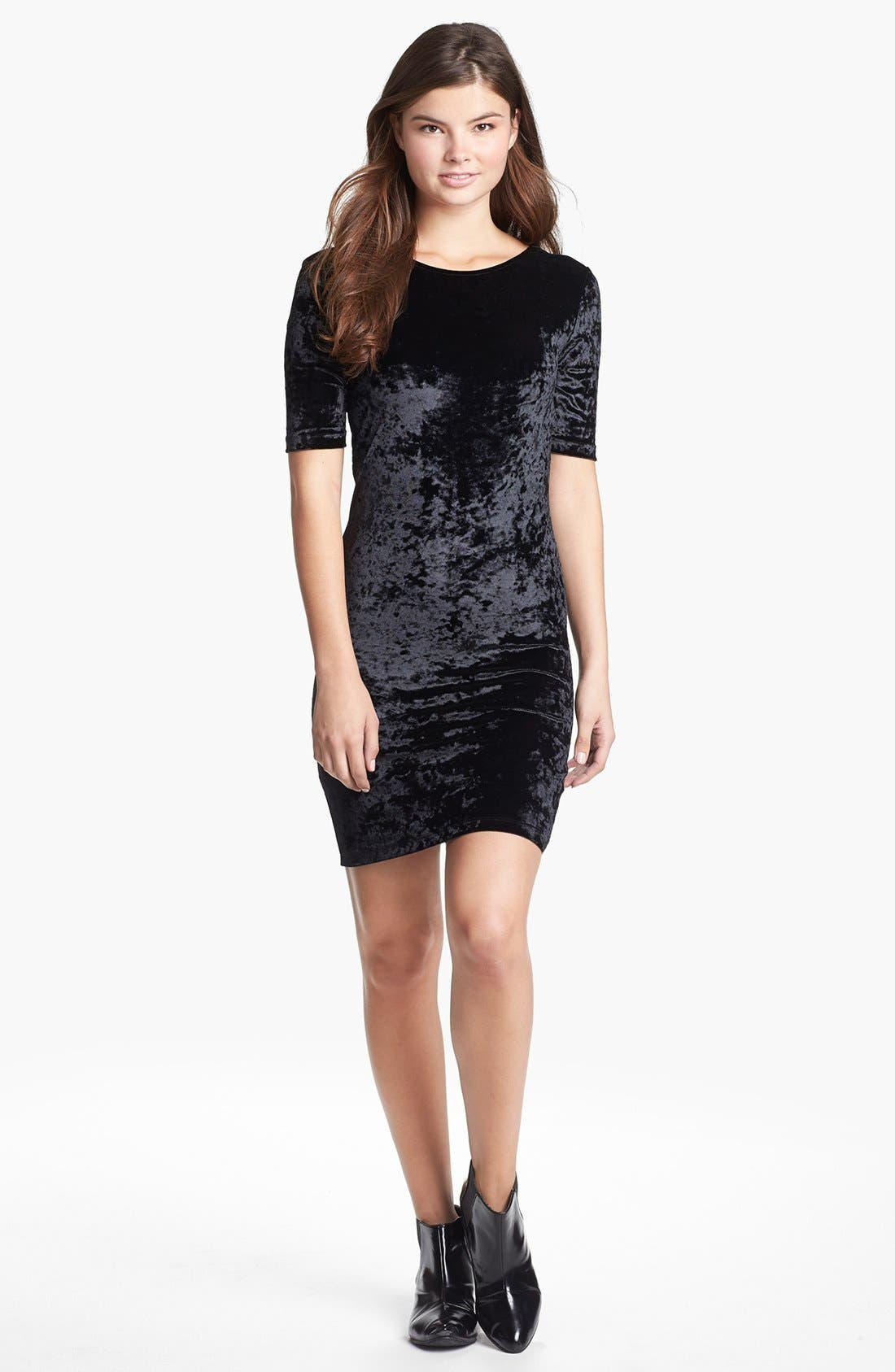 Main Image - Frenchi® Velour Body-Con Dress (Juniors)
