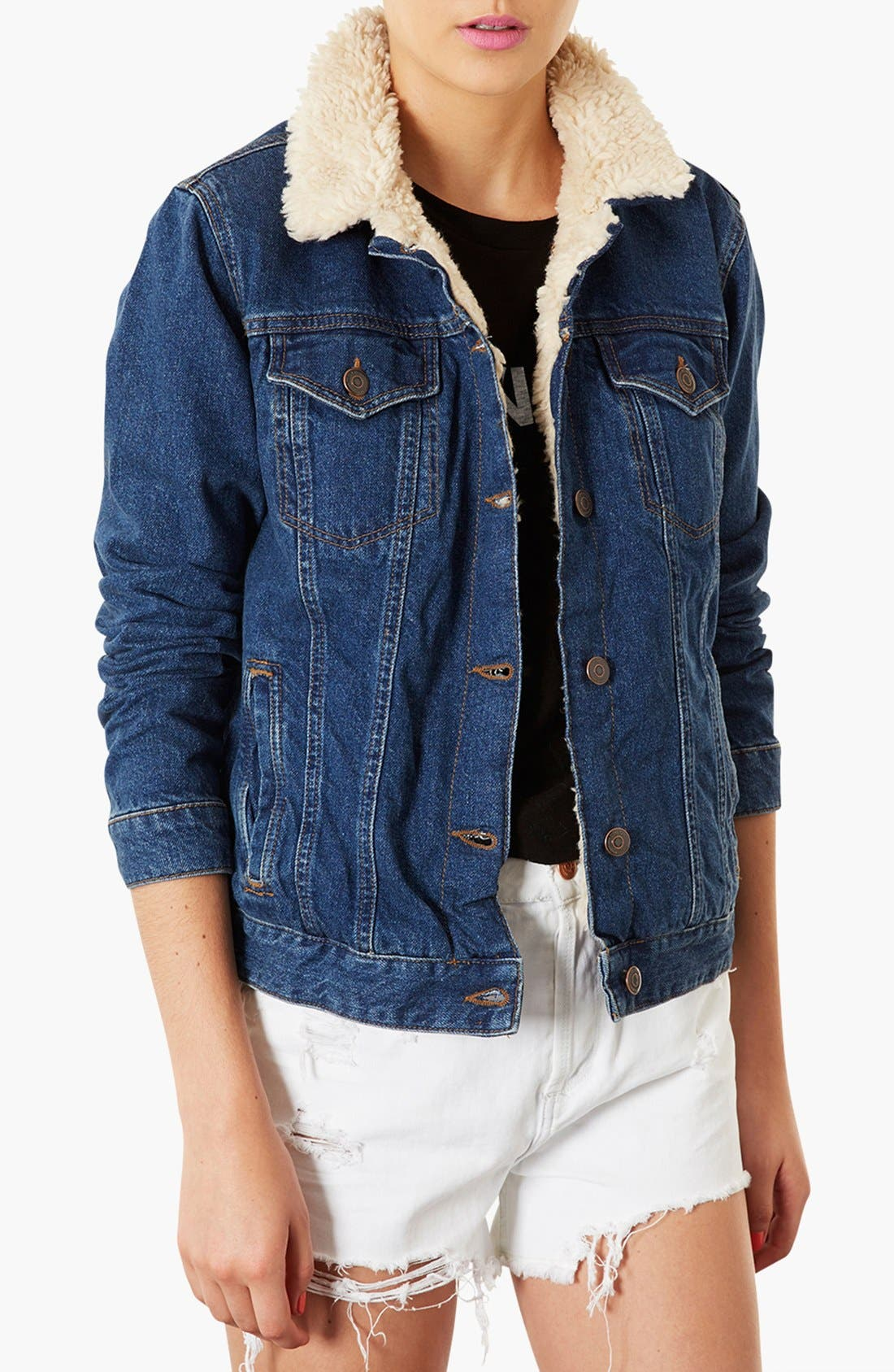 Main Image - Topshop Moto Fleece Lined Denim Jacket