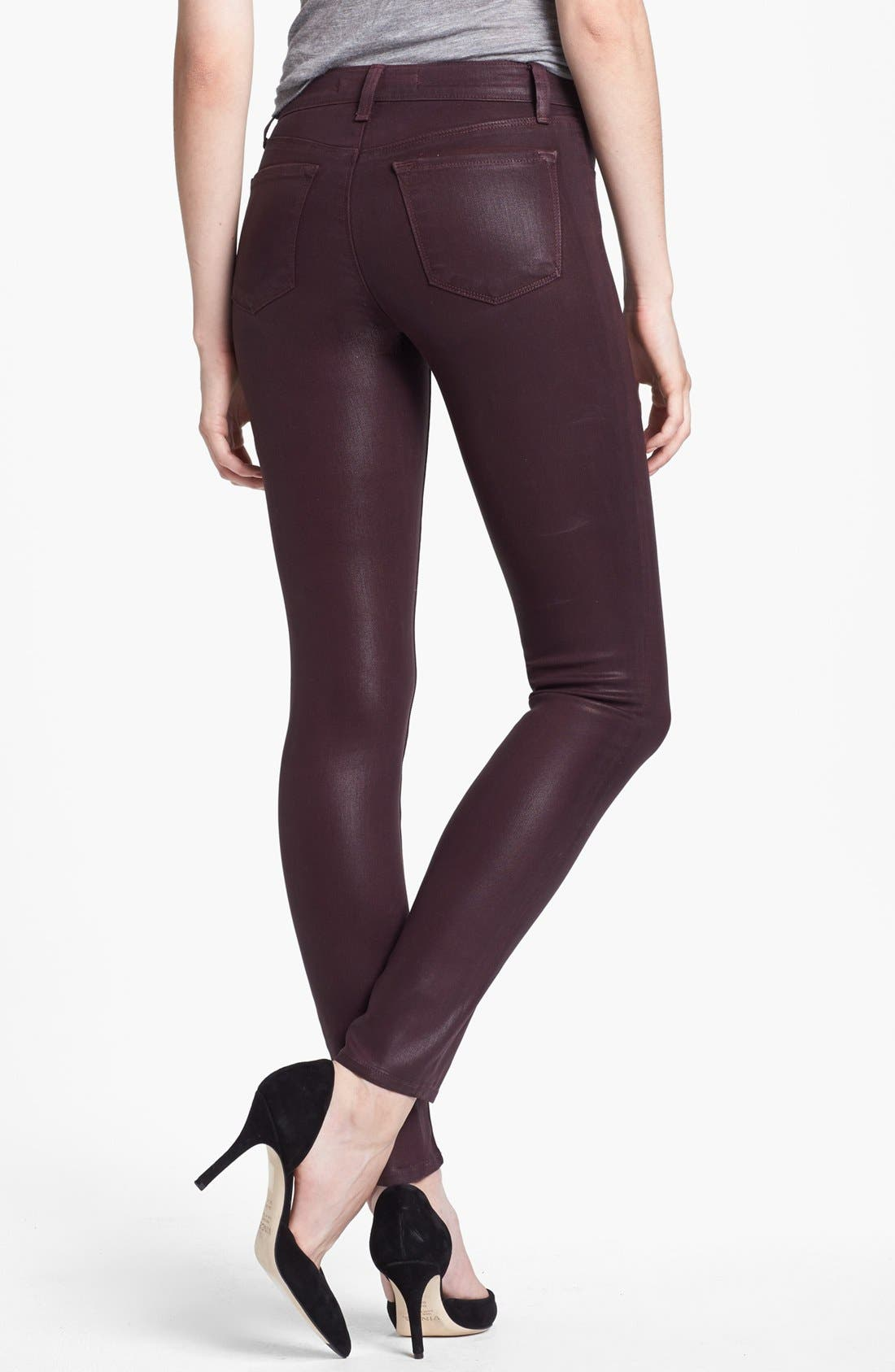 Alternate Image 2  - J Brand '485' Coated Skinny Jeans (Laquered Pinot)