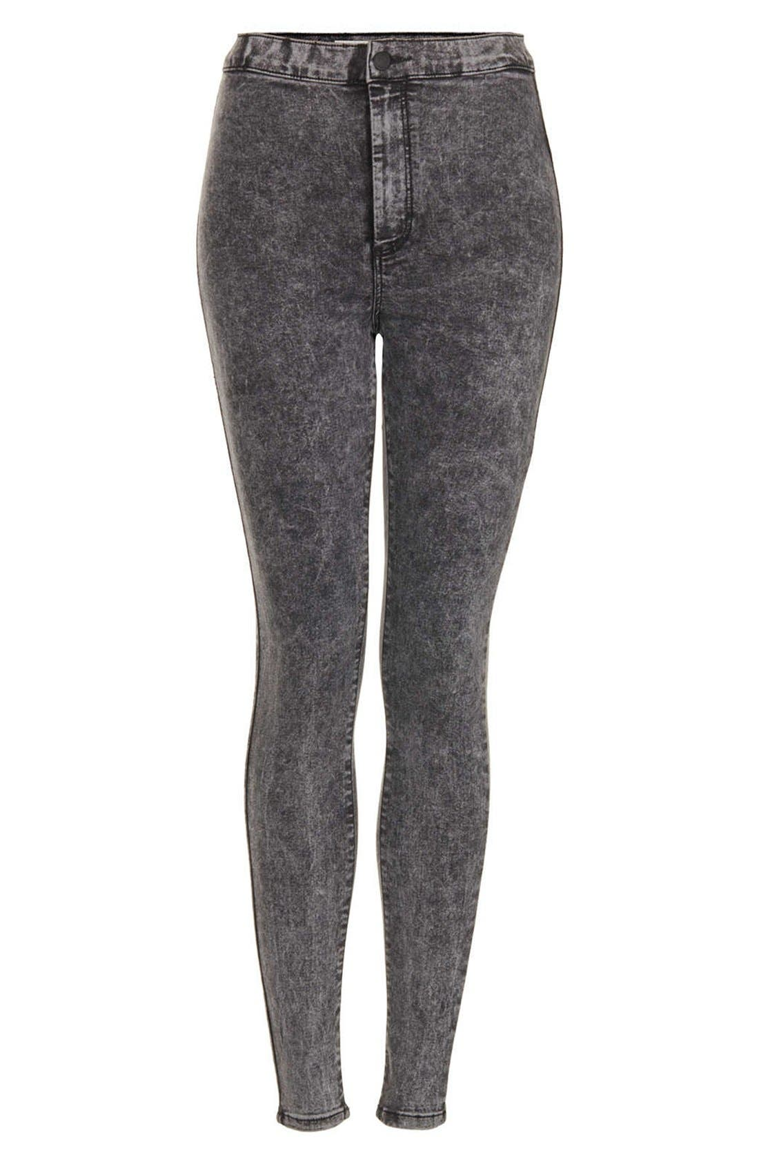 Alternate Image 3  - Topshop Moto 'Joni' Acid Wash High Rise Skinny Jeans (Black) (Regular, Short & Long)