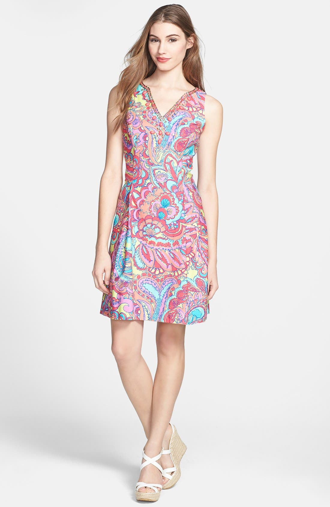 Main Image - Lilly Pulitzer® 'Lloyd' Print Shantung Fit & Flare Dress