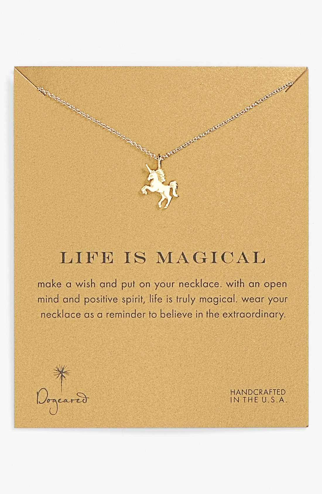 Alternate Image 1 Selected - Dogeared 'Reminder - Life is Magical' Boxed Unicorn Pendant Necklace