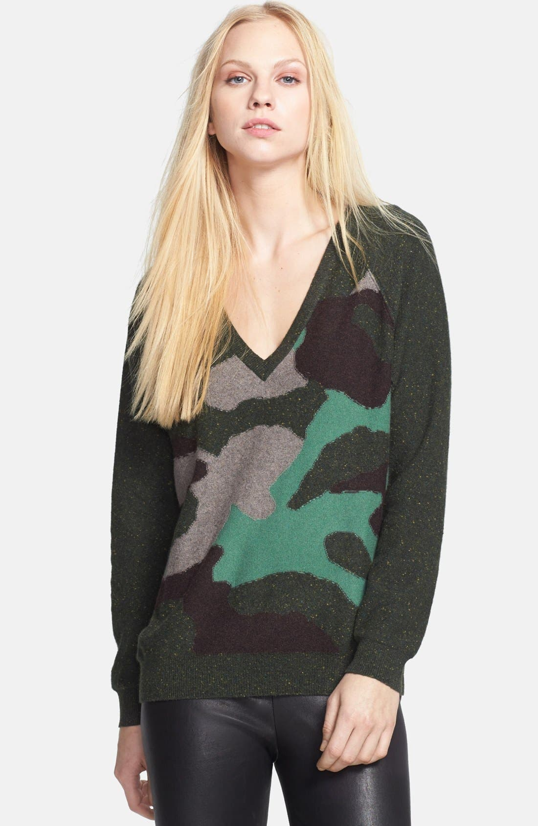 Alternate Image 1 Selected - autumn cashmere Camo Pattern Cashmere Sweater