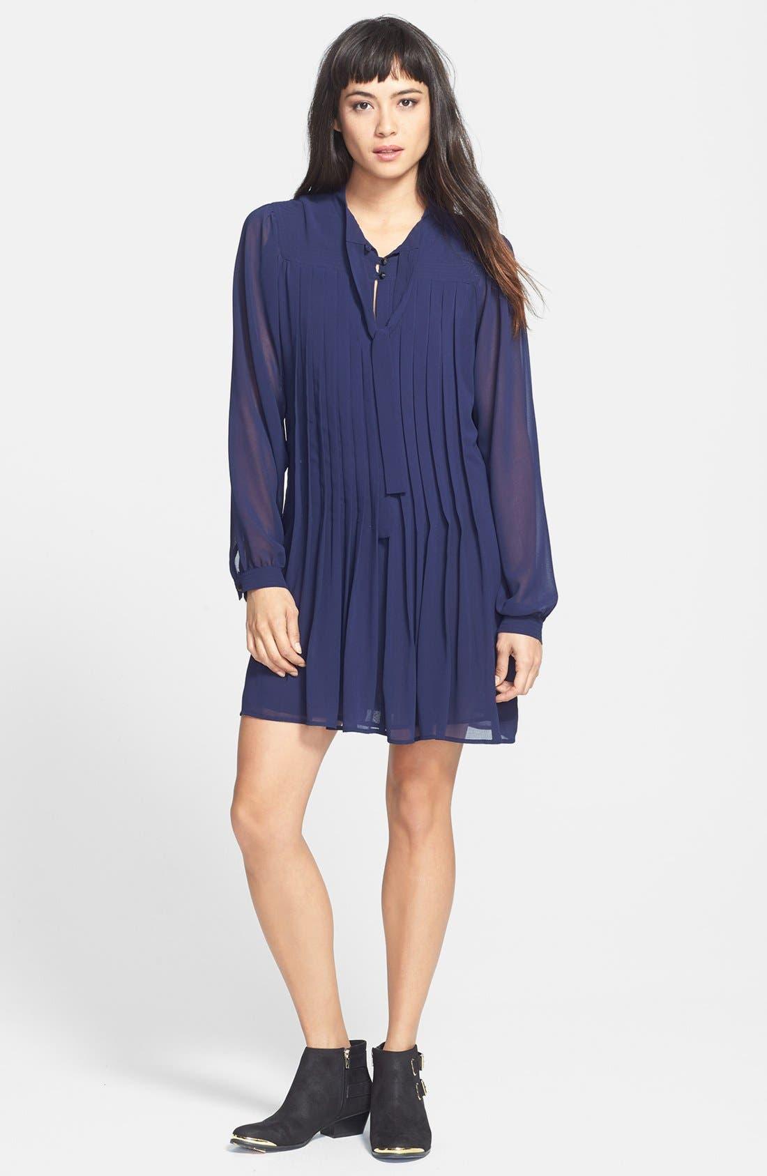 Alternate Image 1 Selected - Sanctuary Pintuck Pleat Mini Shirtdress