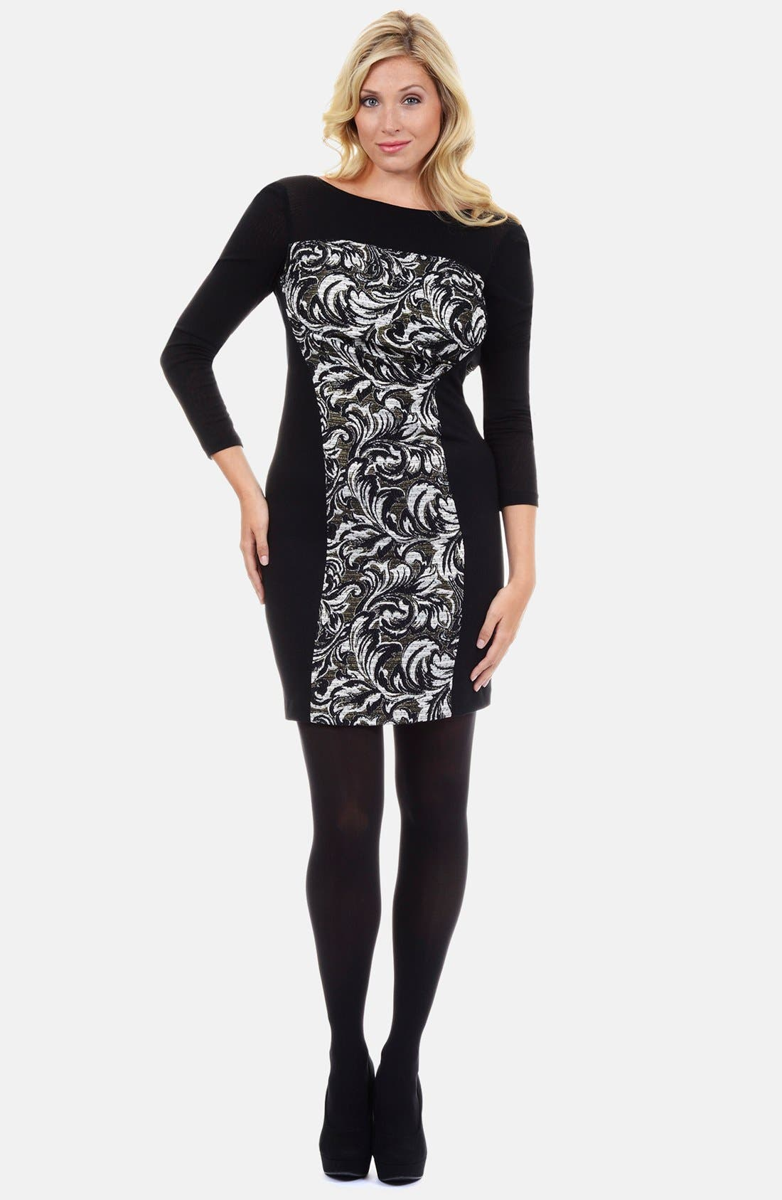 Main Image - Kay Unger Jacquard Front Sheath Dress (Plus Size)
