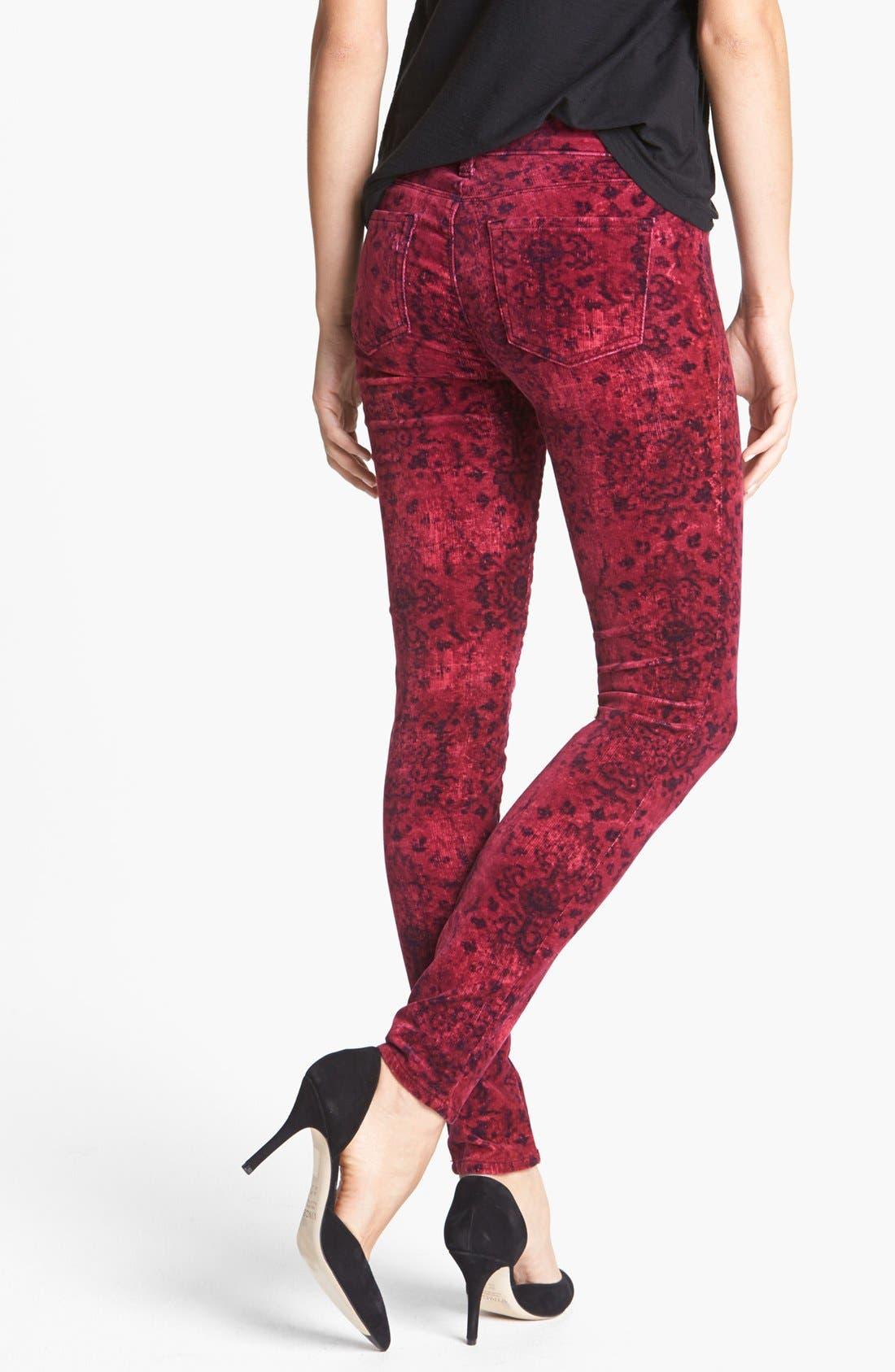 Alternate Image 2  - J Brand '815' Mid Rise Print Velveteen Super Skinny Jeans (Gaya)