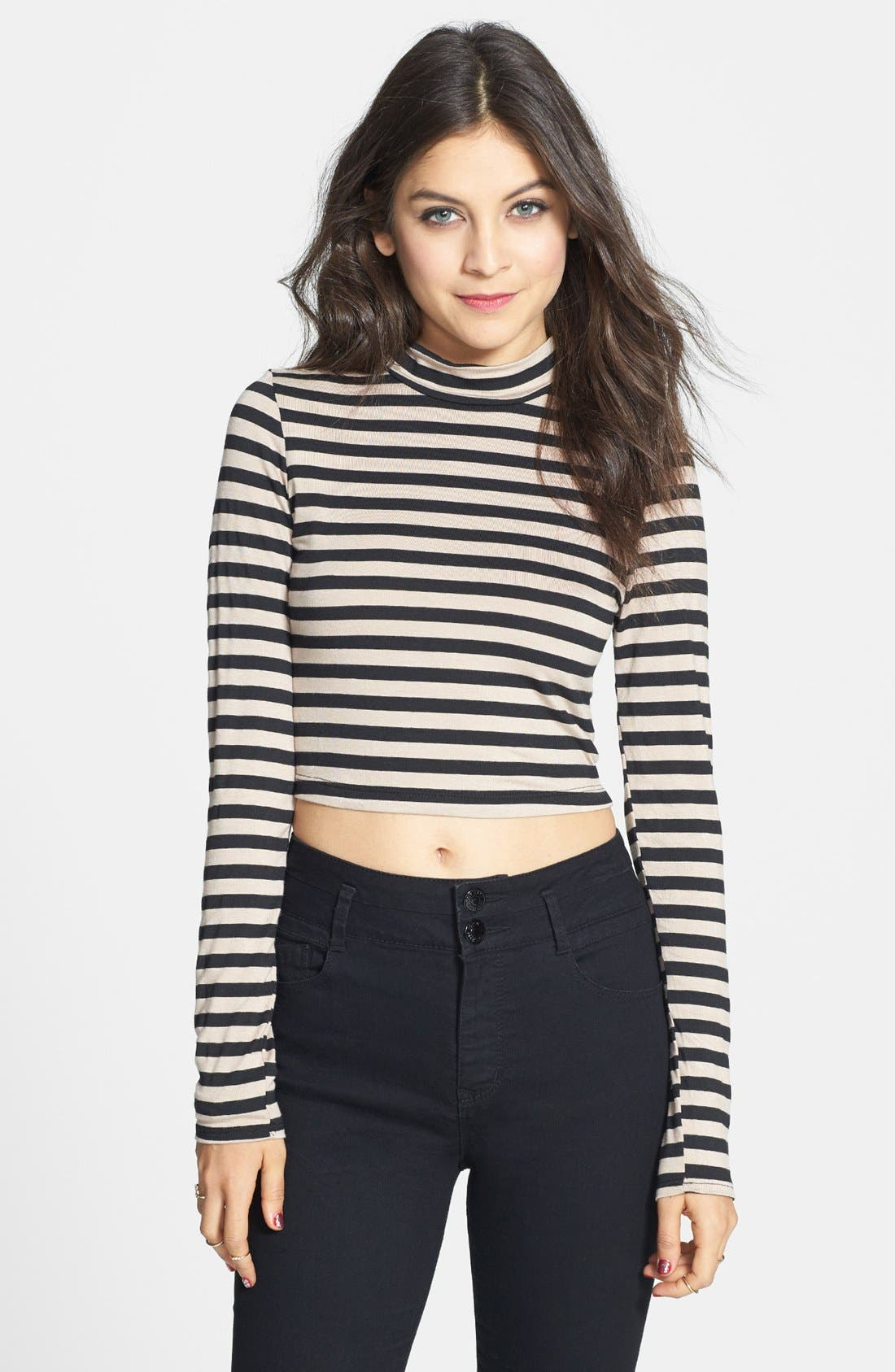 Alternate Image 1 Selected - Living Doll Mock Neck Crop Top (Juniors) (Online Only)