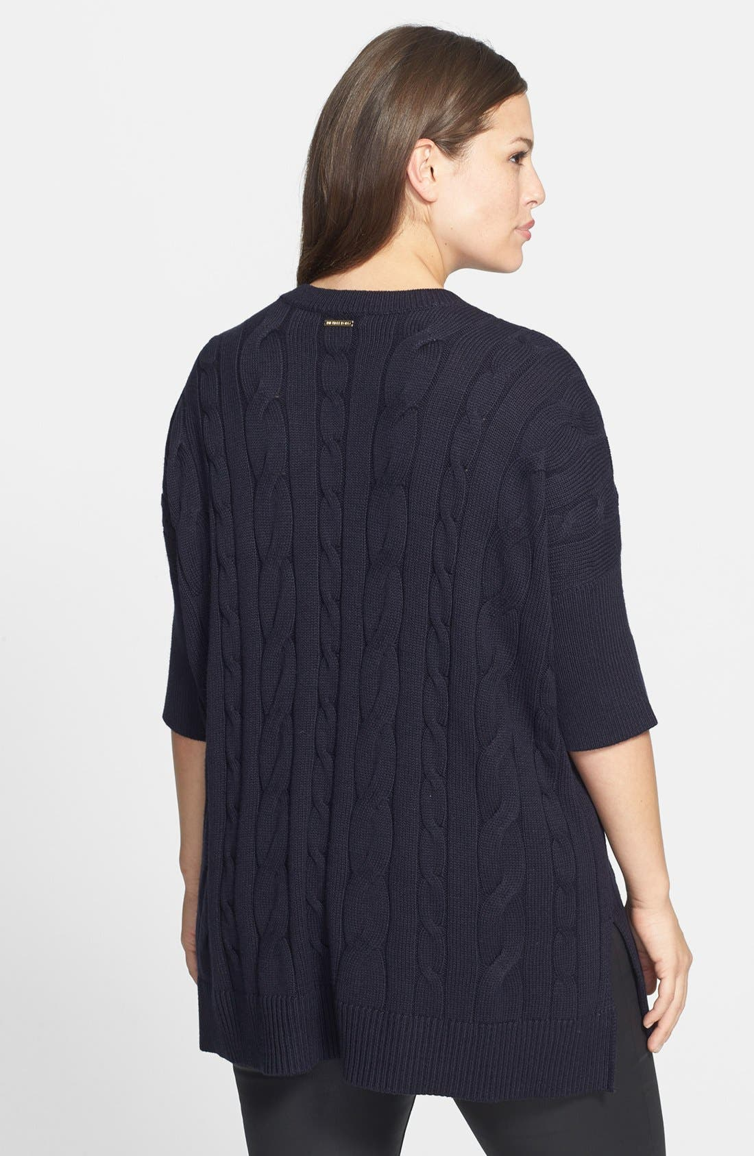 Alternate Image 2  - MICHAEL Michael Kors Cable Knit Poncho Sweater (Plus Size)