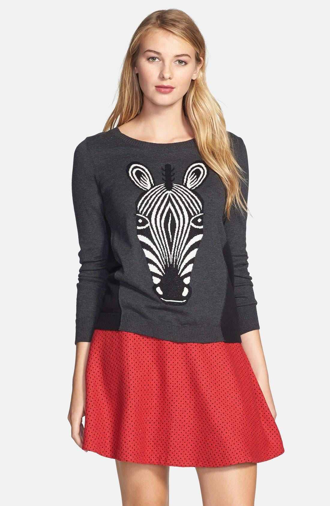 Alternate Image 1 Selected - kensie Zebra Intarsia Sweater