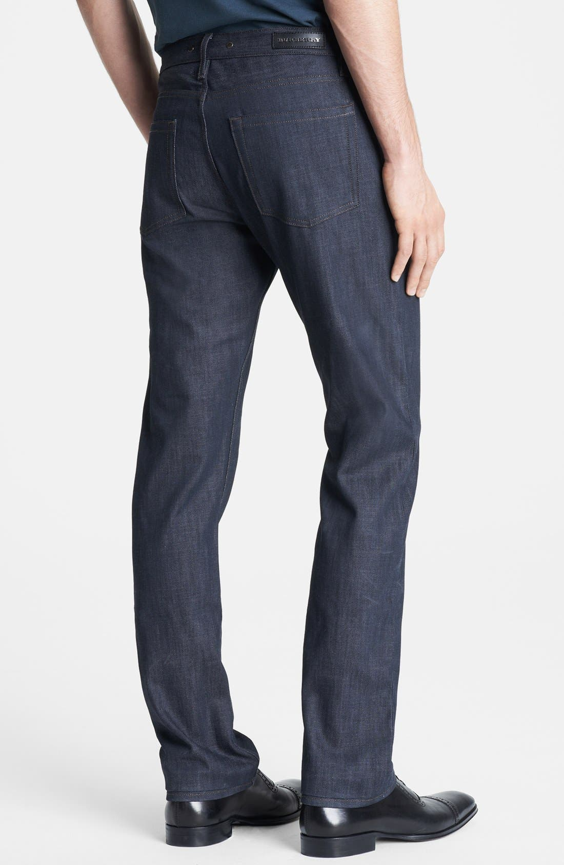Alternate Image 2  - Burberry London Coated Slim Fit Jeans (Navy)