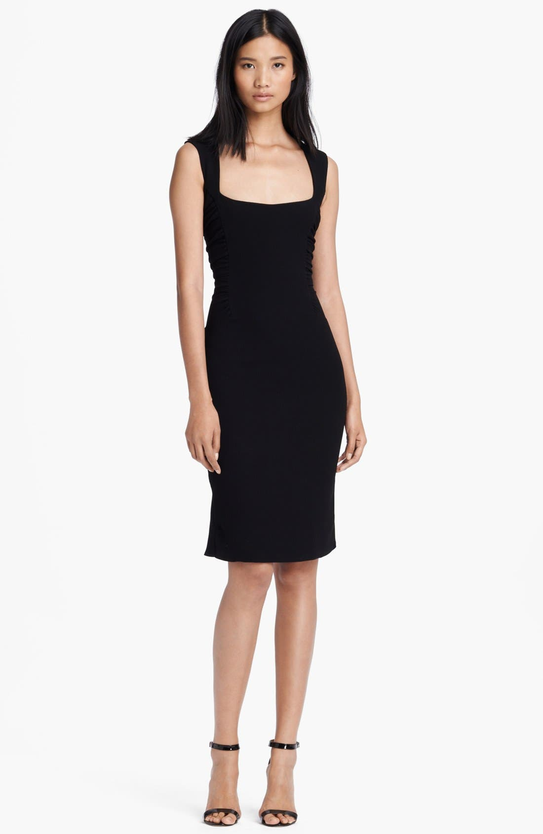 Main Image - L'AGENCE Square Neck Ruched Dress