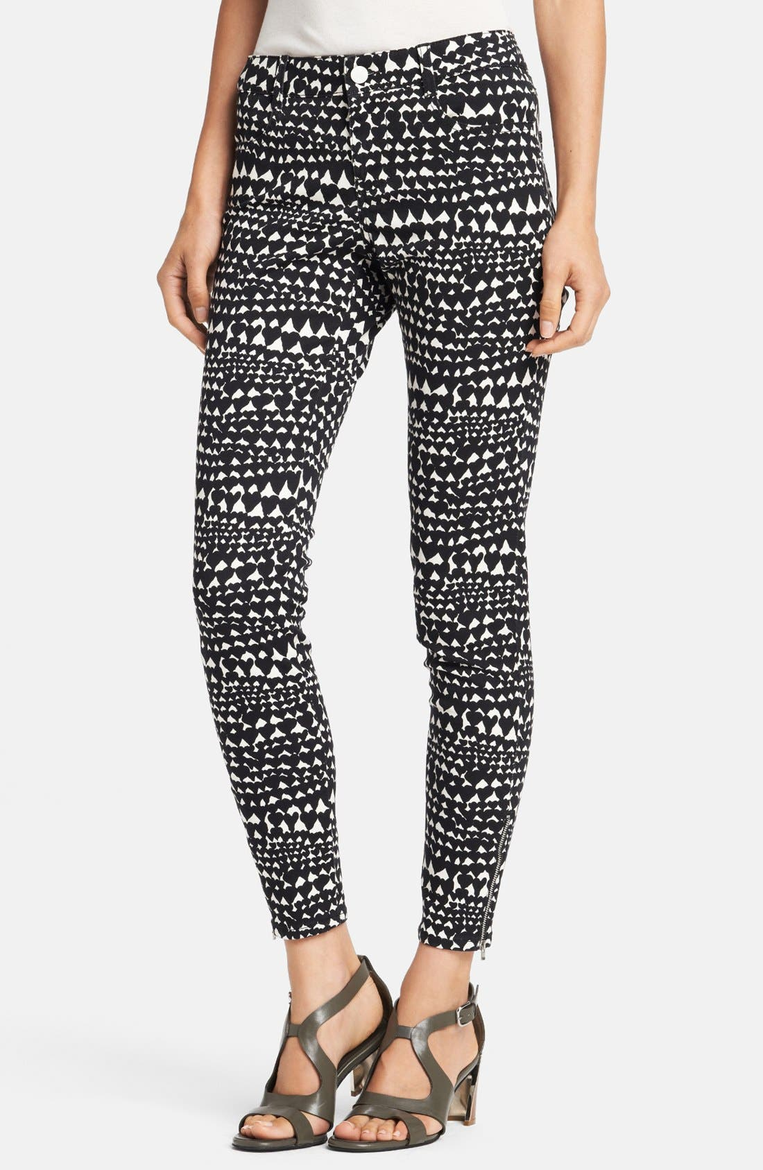Main Image - Stella McCartney 'Jessica' Heart Print Skinny Ankle Zip Jeans