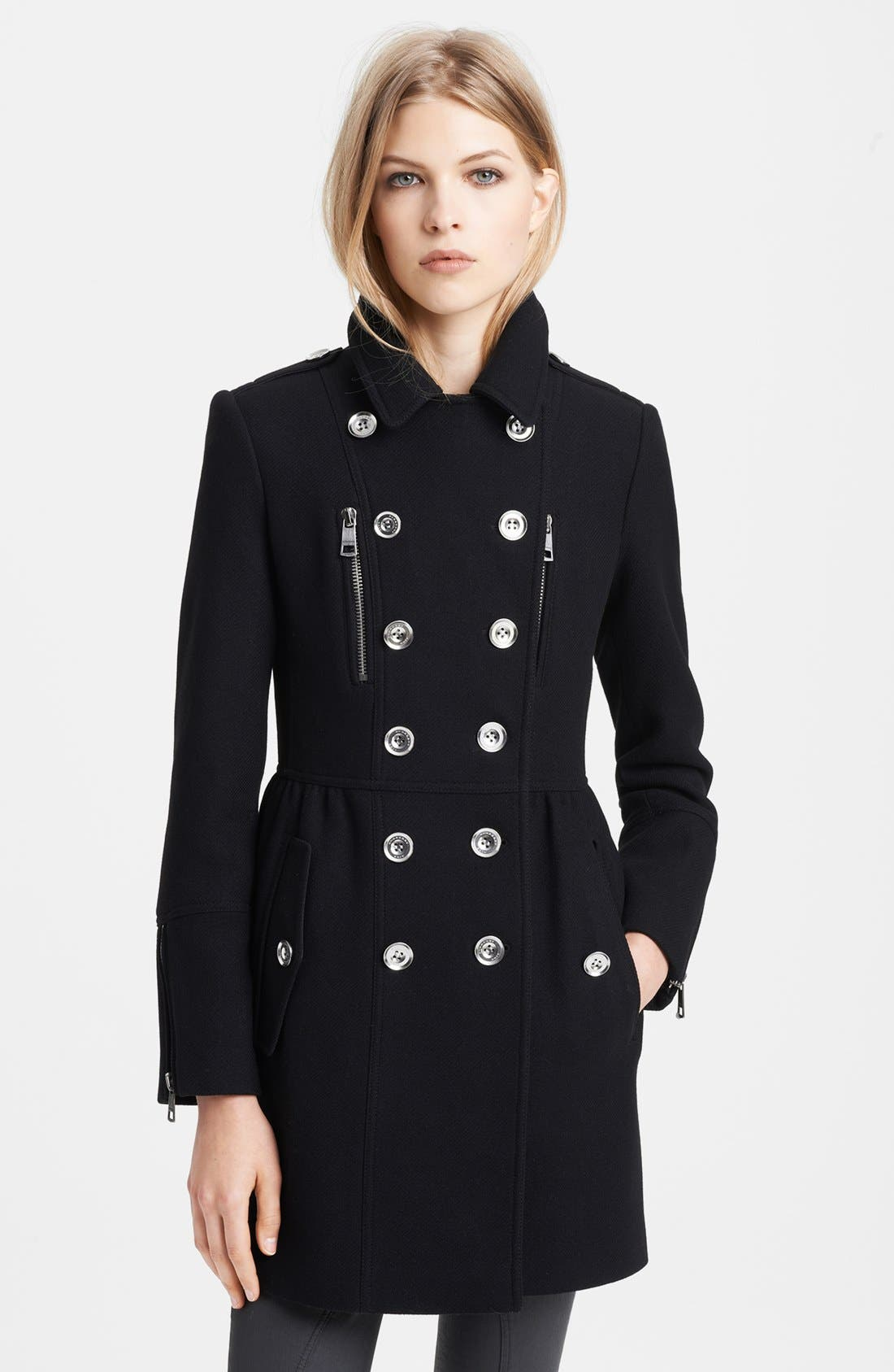Alternate Image 1 Selected - Burberry Brit 'Winsleigh' Double Breasted Military Coat
