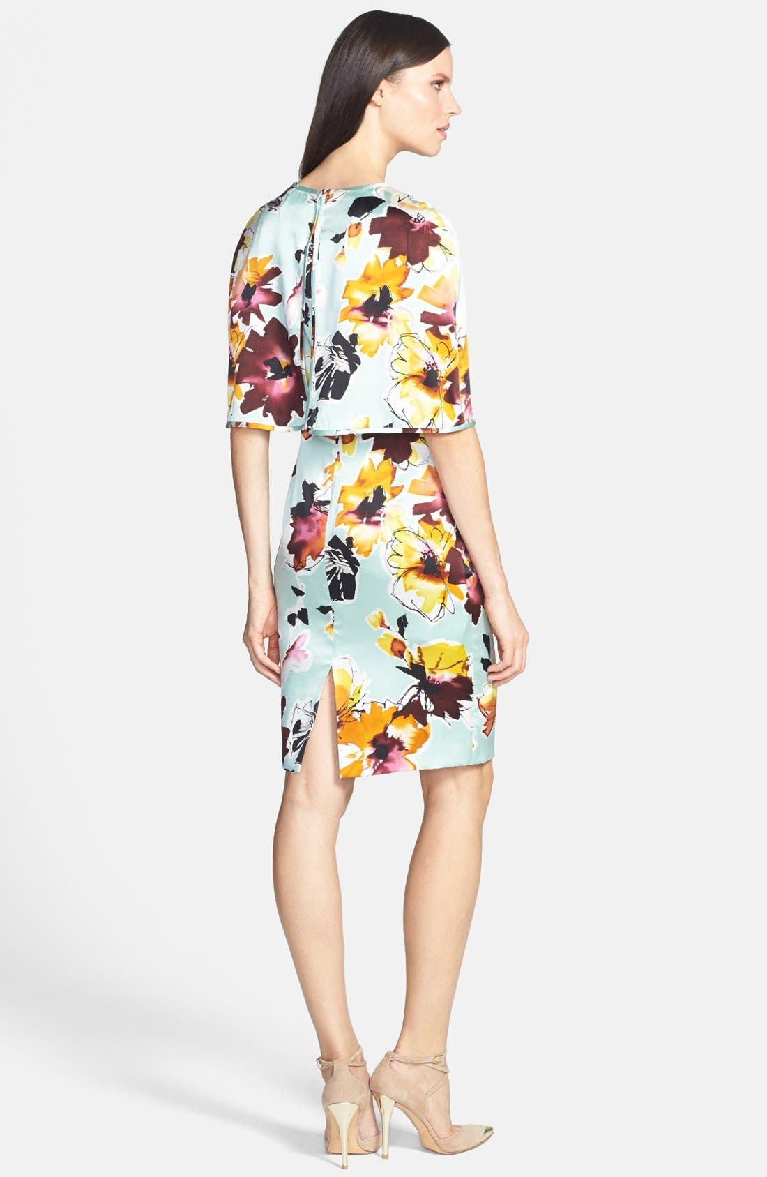 Alternate Image 2  - St. John Collection Floral Print Silk Charmeuse Dress with Capelet