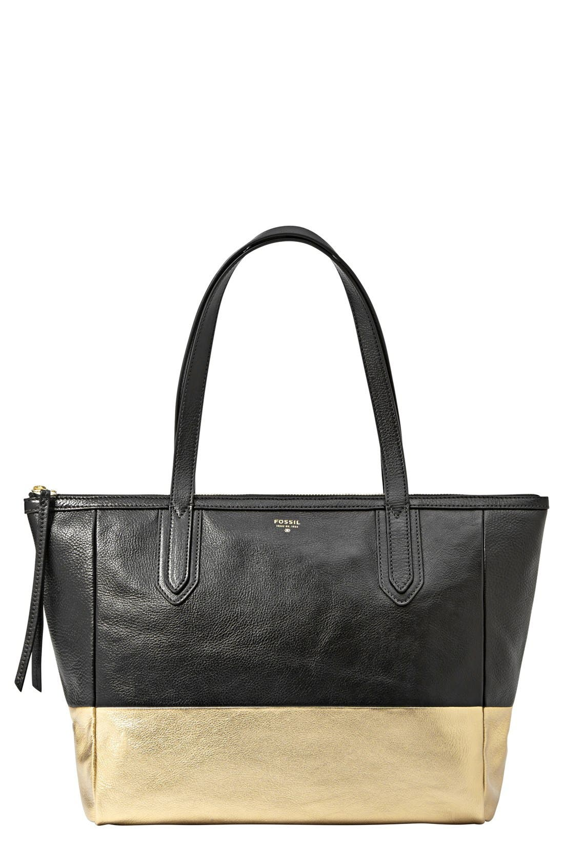 Main Image - Fossil 'Sydney - Metallic' Leather Shopper