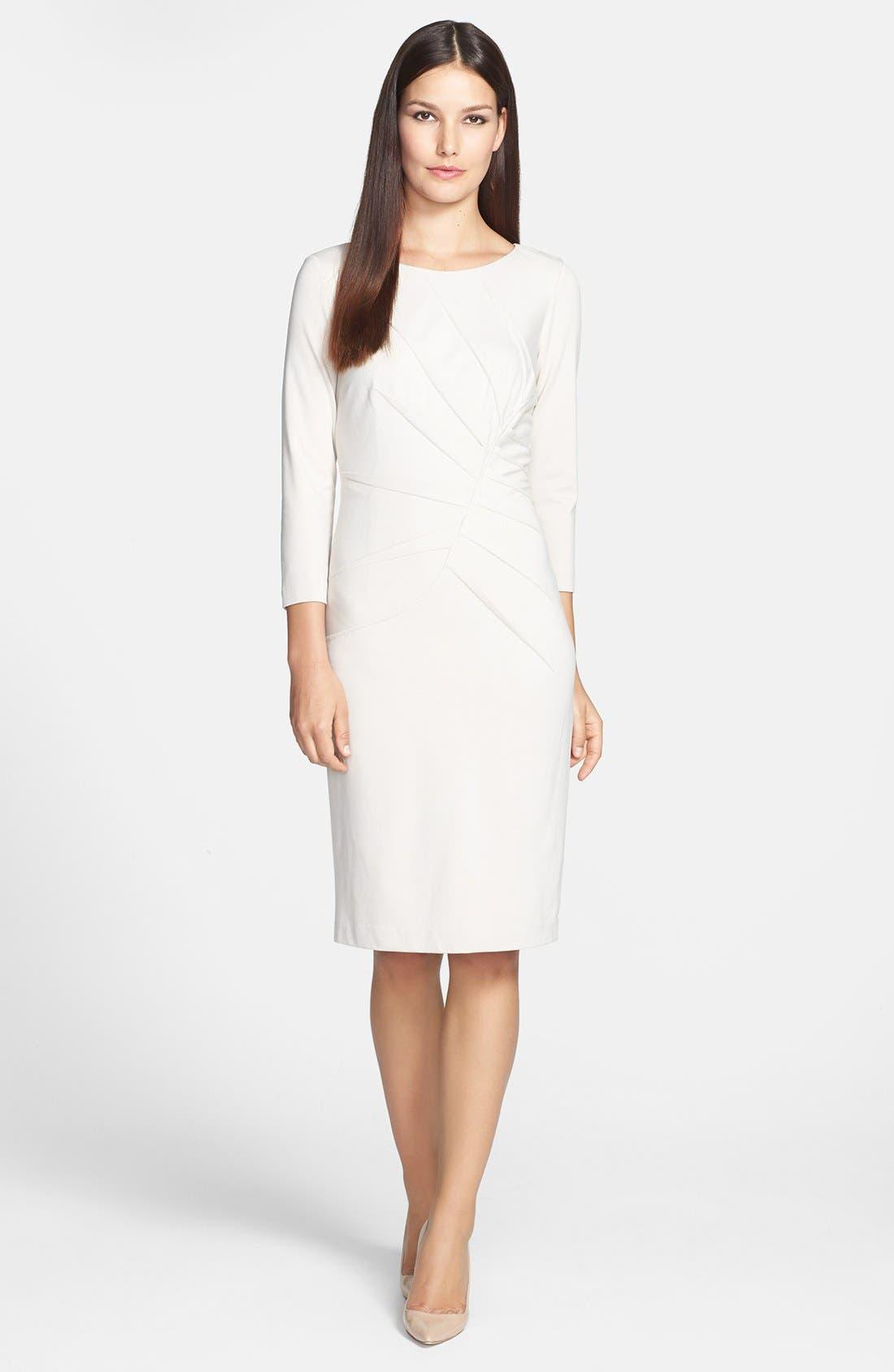 Alternate Image 1 Selected - Adrianna Papell Inverted Pleat Ponte Sheath Dress