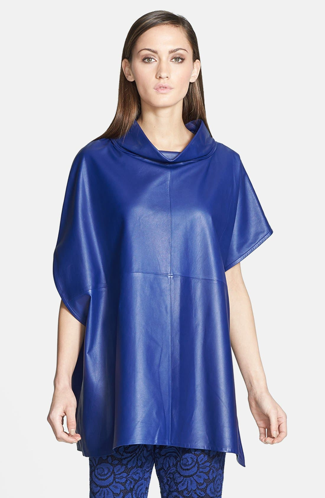 Main Image - St. John Collection Asymmetrical Nappa Leather Poncho