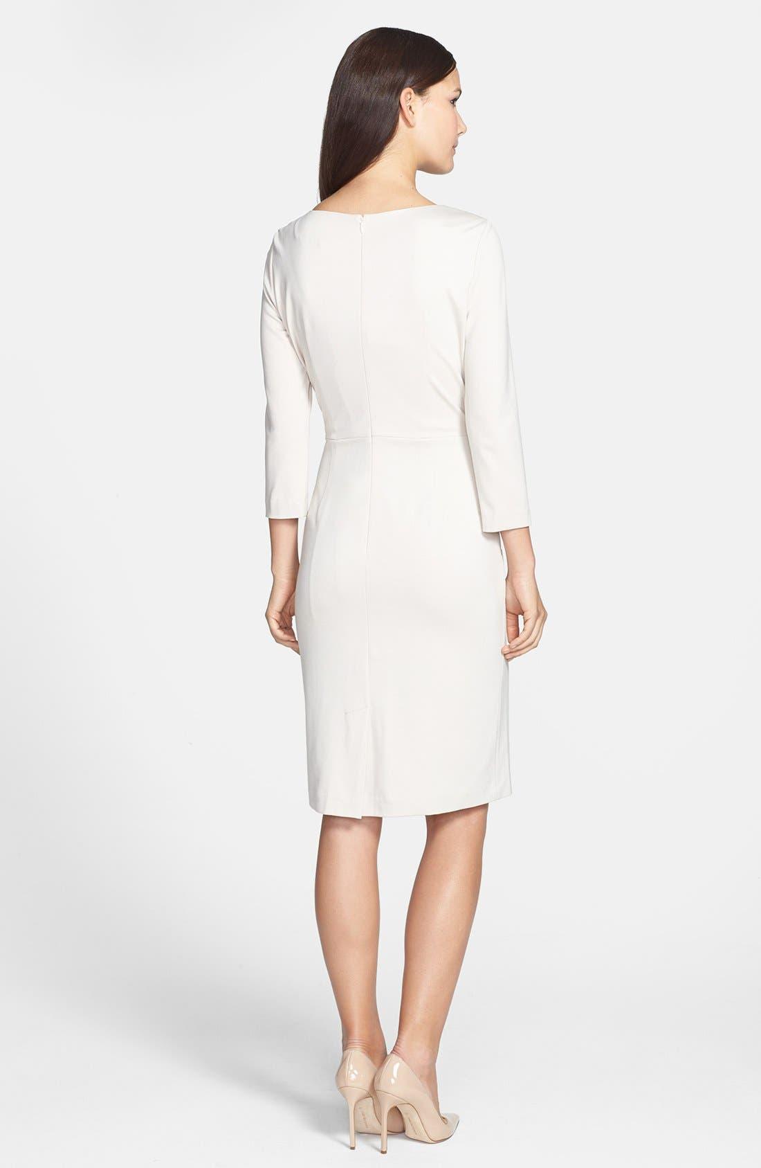 Alternate Image 2  - Adrianna Papell Inverted Pleat Ponte Sheath Dress