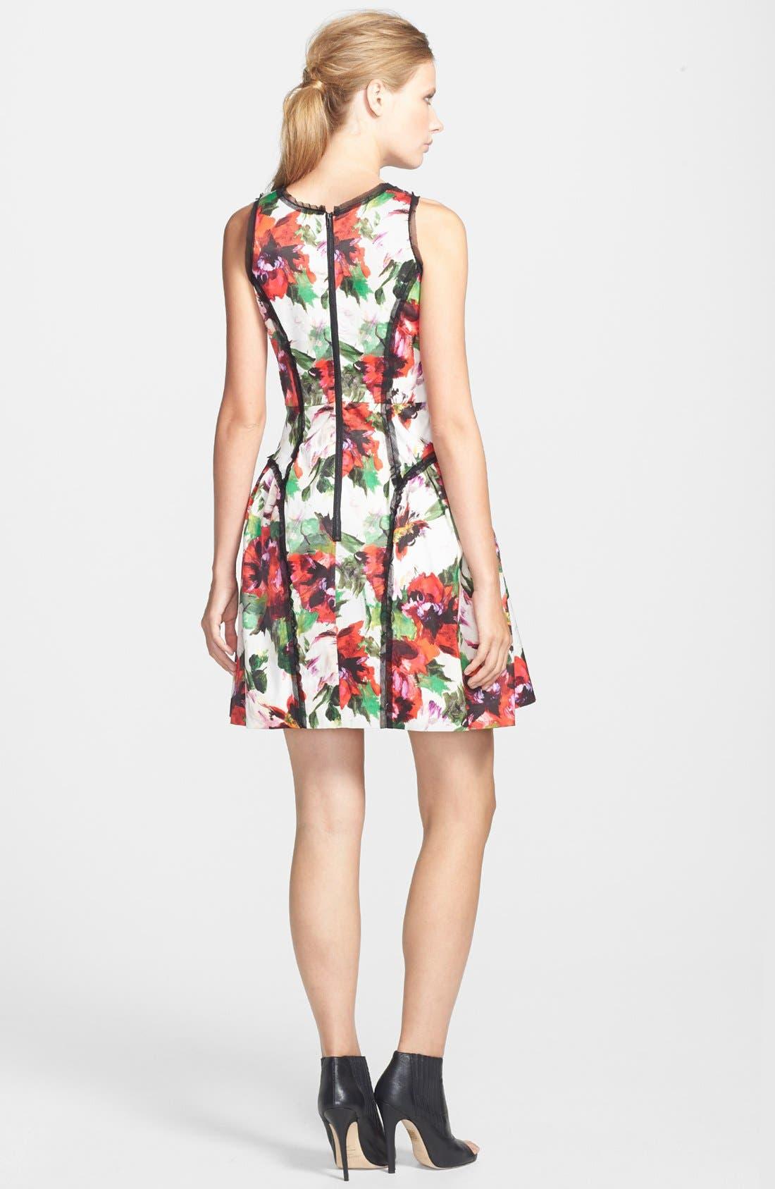 Alternate Image 2  - Milly Paneled Silk Party Dress