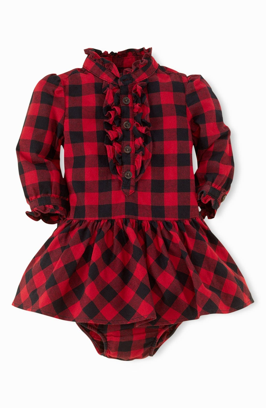 Alternate Image 2  - Ralph Lauren Plaid Dress & Bloomers (Baby Girls)