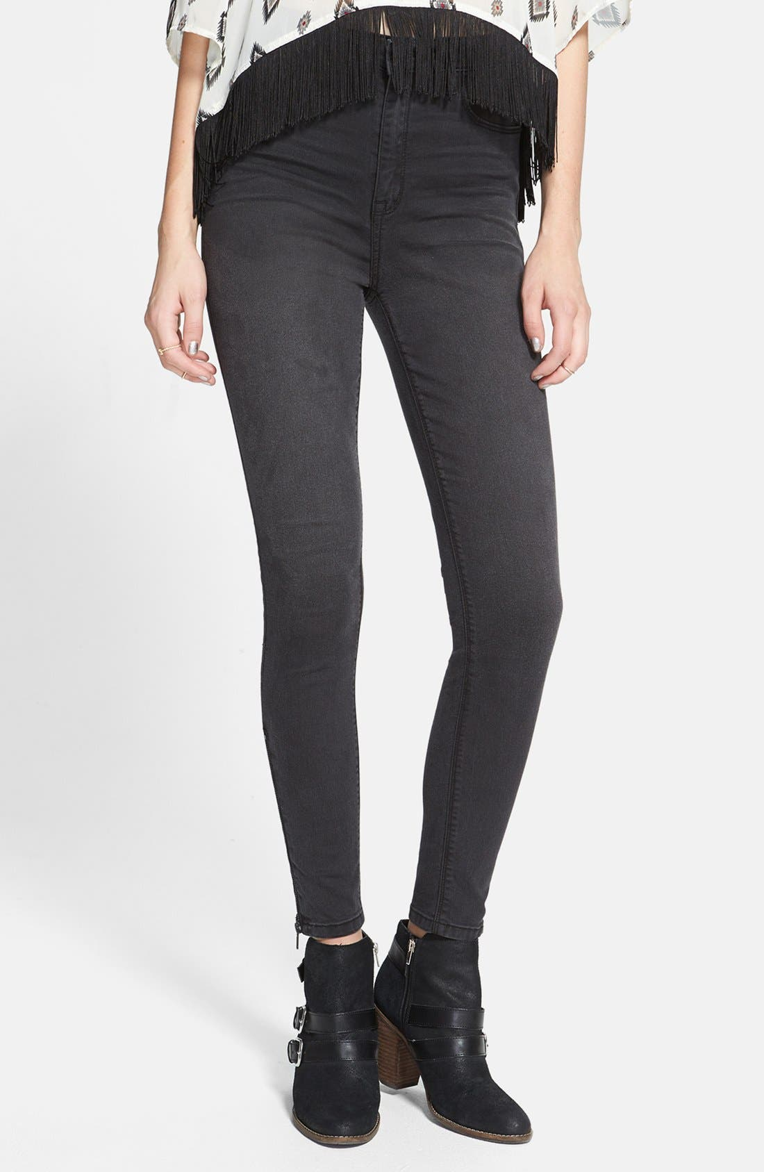 Alternate Image 1 Selected - SP Black High Waist Ankle Zip Skinny Jeans (Dark Grey) (Juniors) (Online Only)