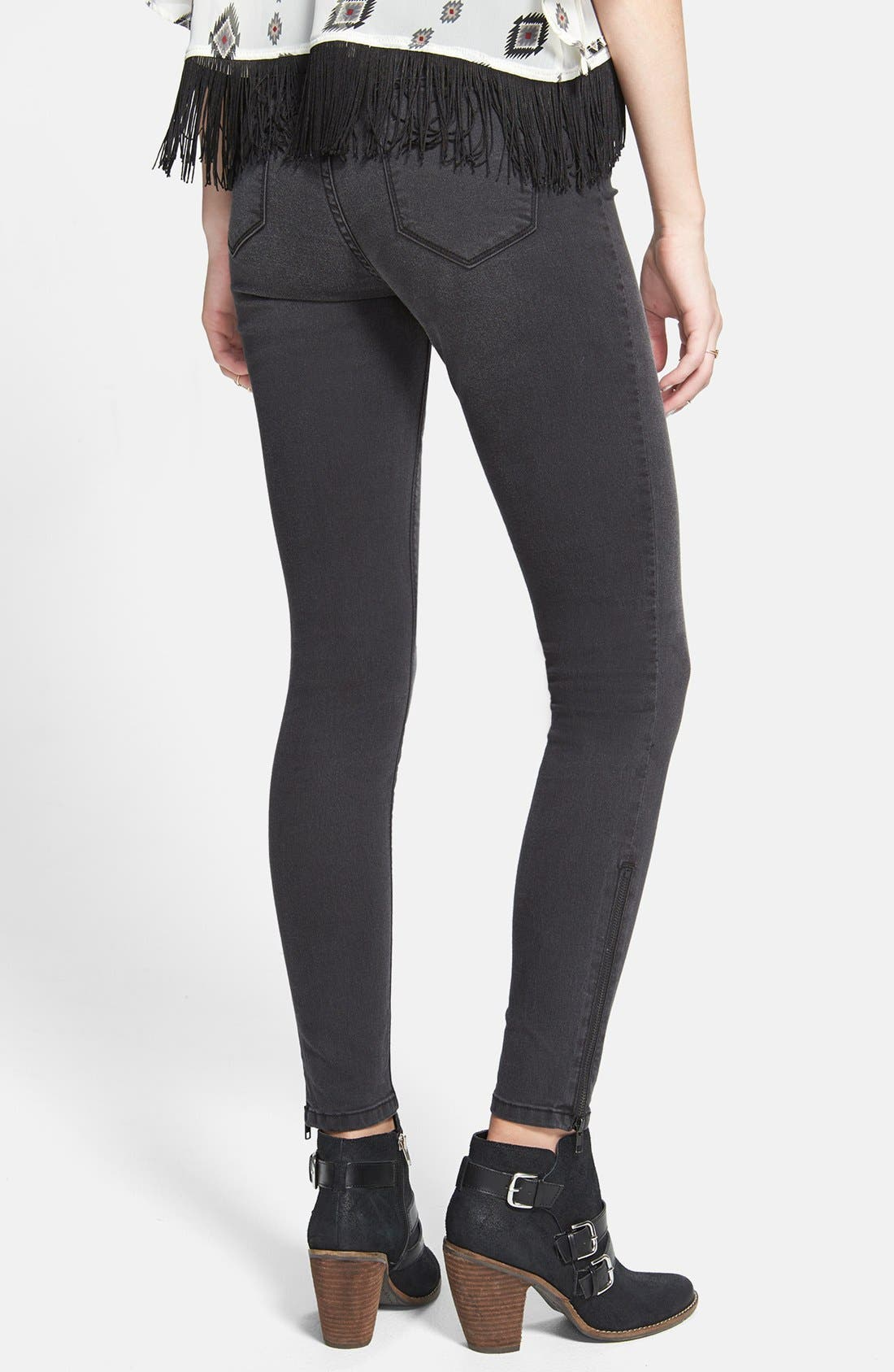 Alternate Image 2  - SP Black High Waist Ankle Zip Skinny Jeans (Dark Grey) (Juniors) (Online Only)