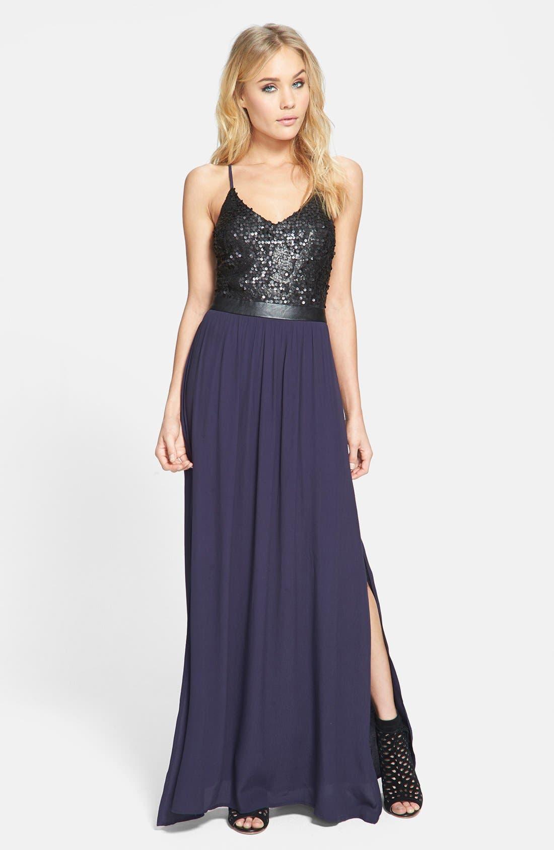 Main Image - ASTR Sequin Bodice Cutout Back Maxi Dress